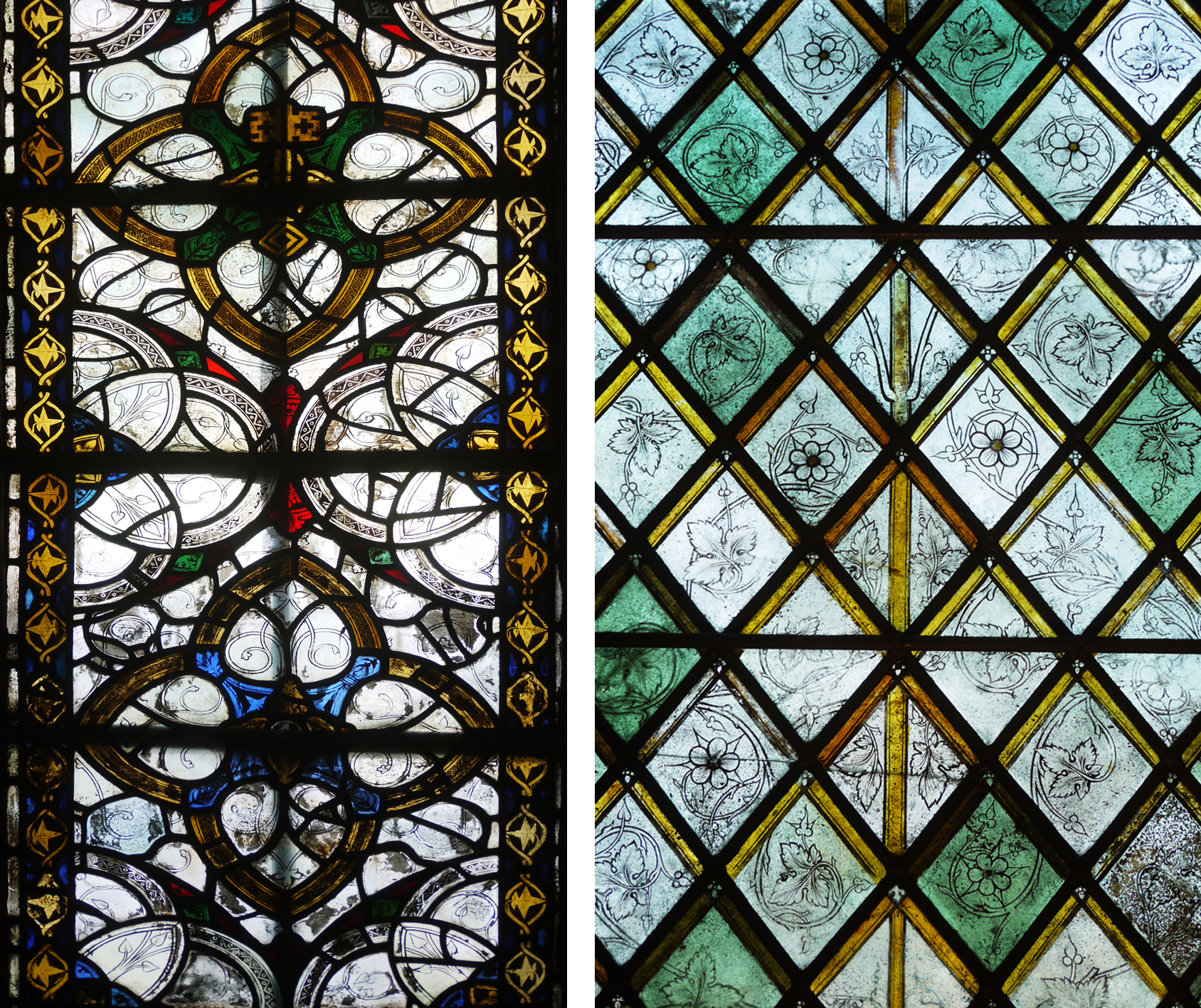 Medieval grisaille glass: left from Exeter Cathedral, right from Christ Church, Oxford c.1350