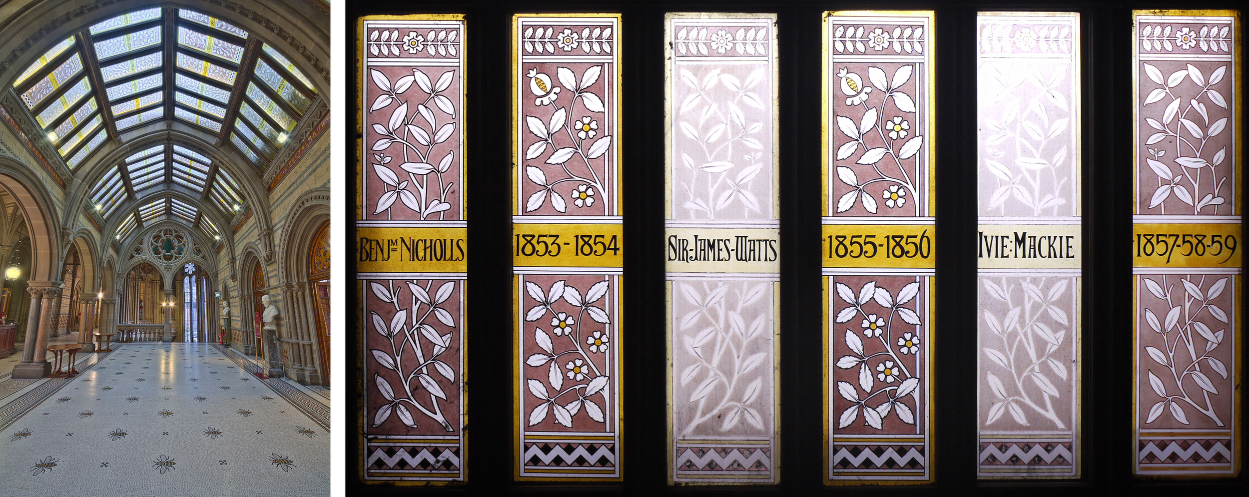 Great Hall Foyer, photo by Michael D. Beckwith.  Block of 6 stained glass panels.