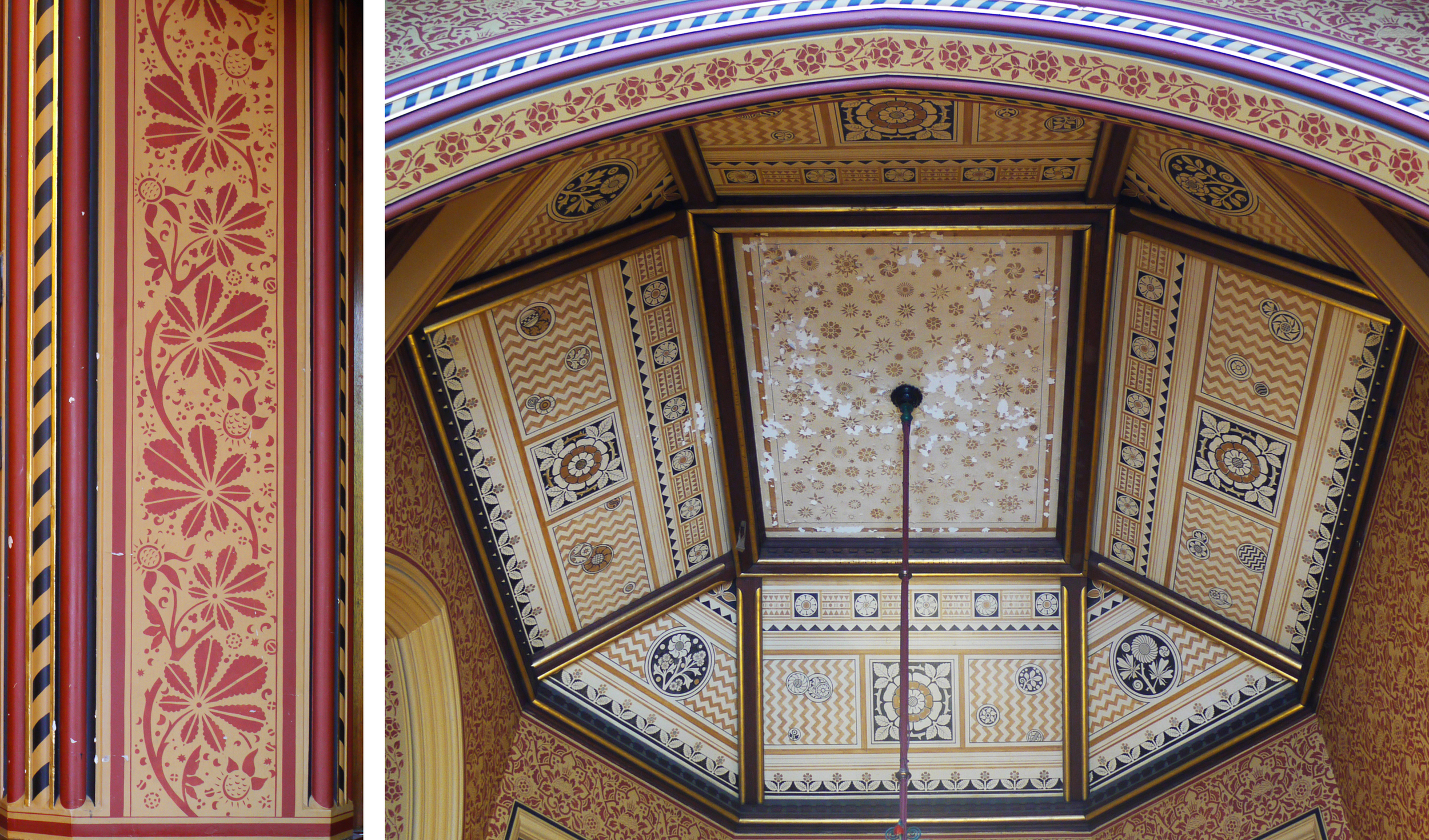 In the south vestibule, horse chestnut motif around the door frame and original patterned ceiling.