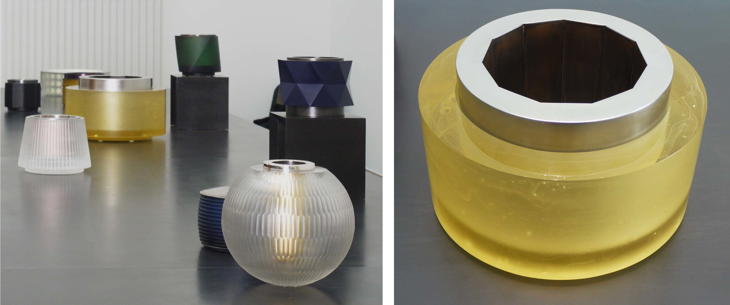 """Left: A quarter of Anna Dickinson's exhibition """"Harmony in Glass"""" on until 1st November. Right: Cast Yellow Vessel with a Hendecagon Steel Liner 2010"""