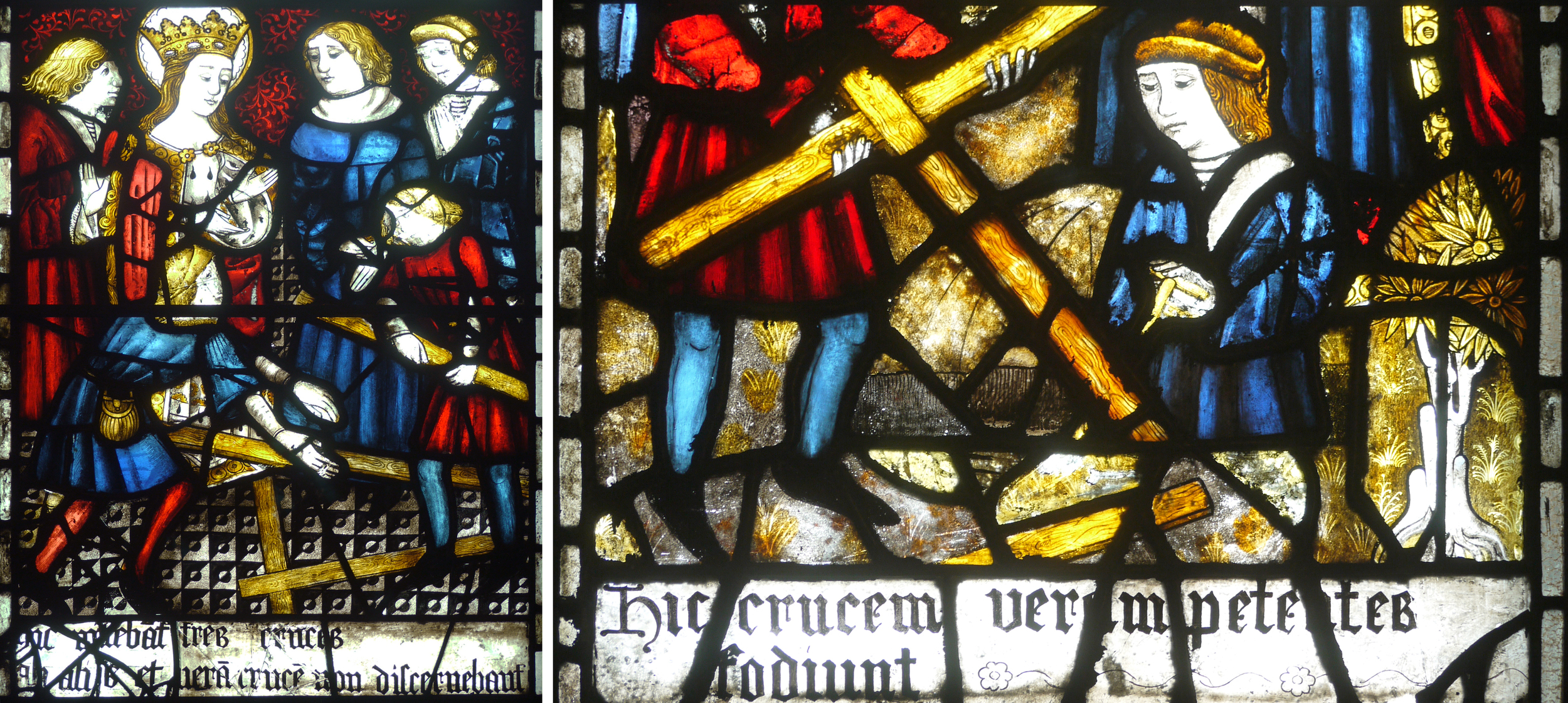 Two of the lower panels in window 2 that depict the life of Saint Helen, translations below