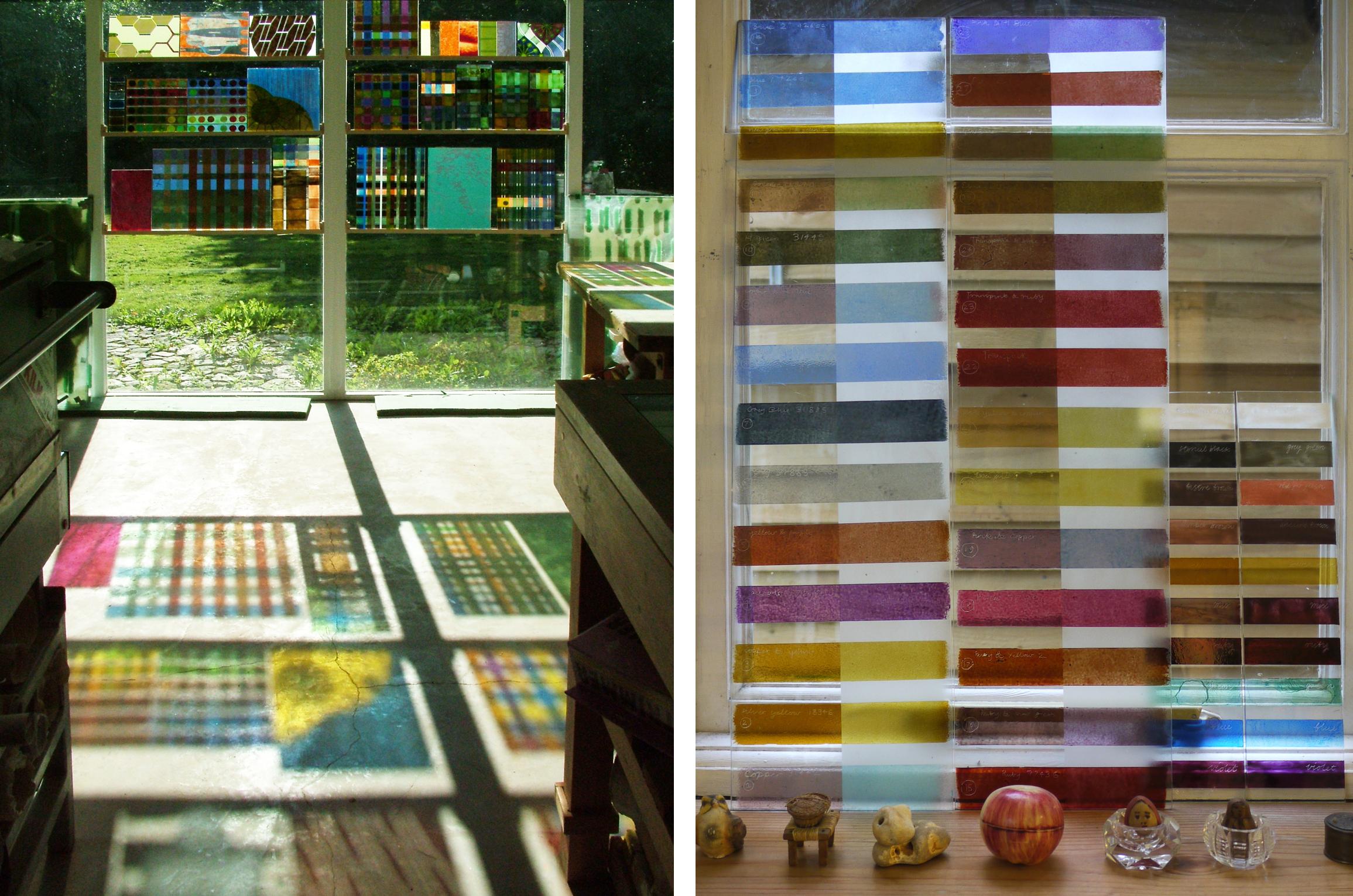 Colour samples in my studio window                          Best ever enamel test strips & recent (smaller) Reusche strips