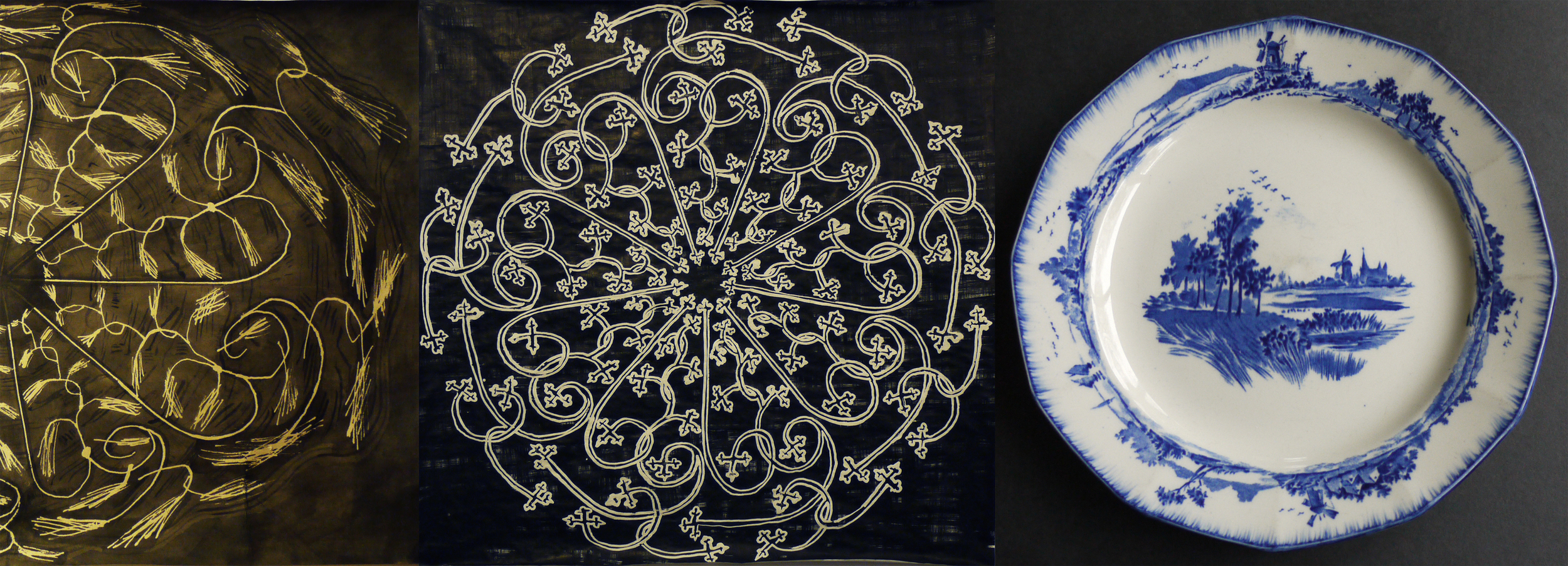"Patterns with curling lines pointing inwards                                                 ""Norfolk"" plate"