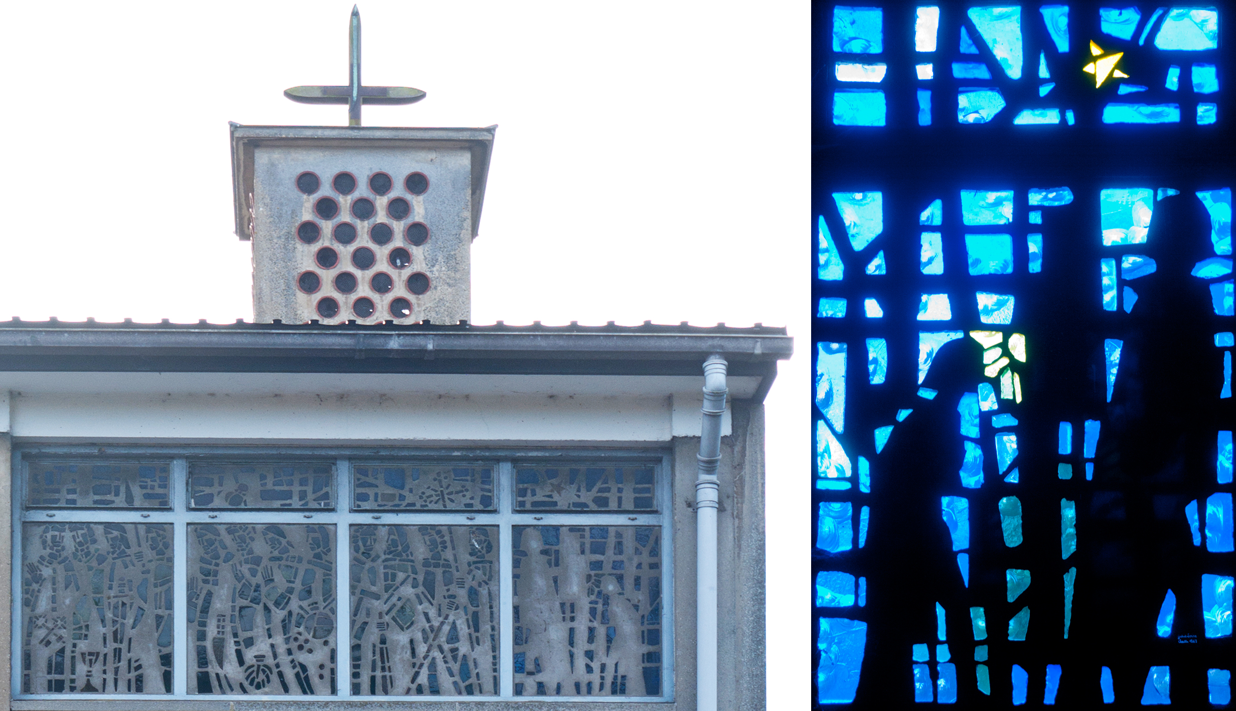 The same windows from the outside showing St. Peter leading Apostles: End window with two mysterious negative figures.
