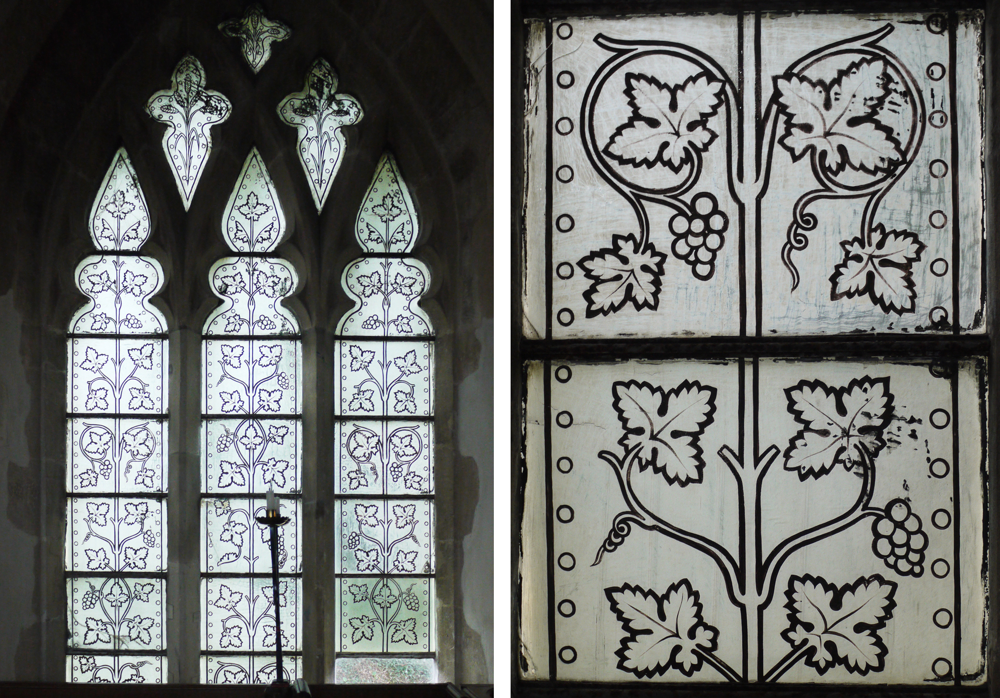 Vine window and detail - St. Mary's, Great Shefford