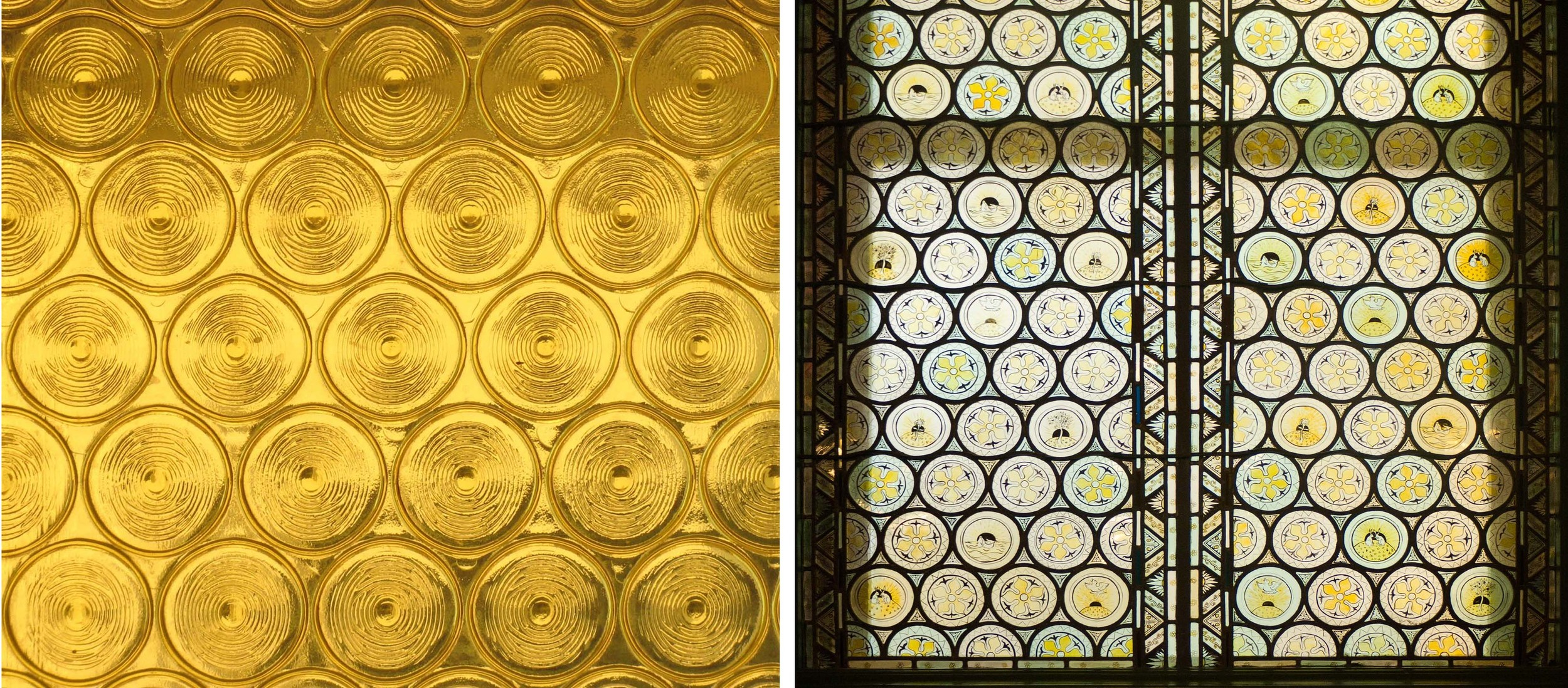Circular Yellow                                 Detail of window in the Morris Room (tearoom), V&A Museum