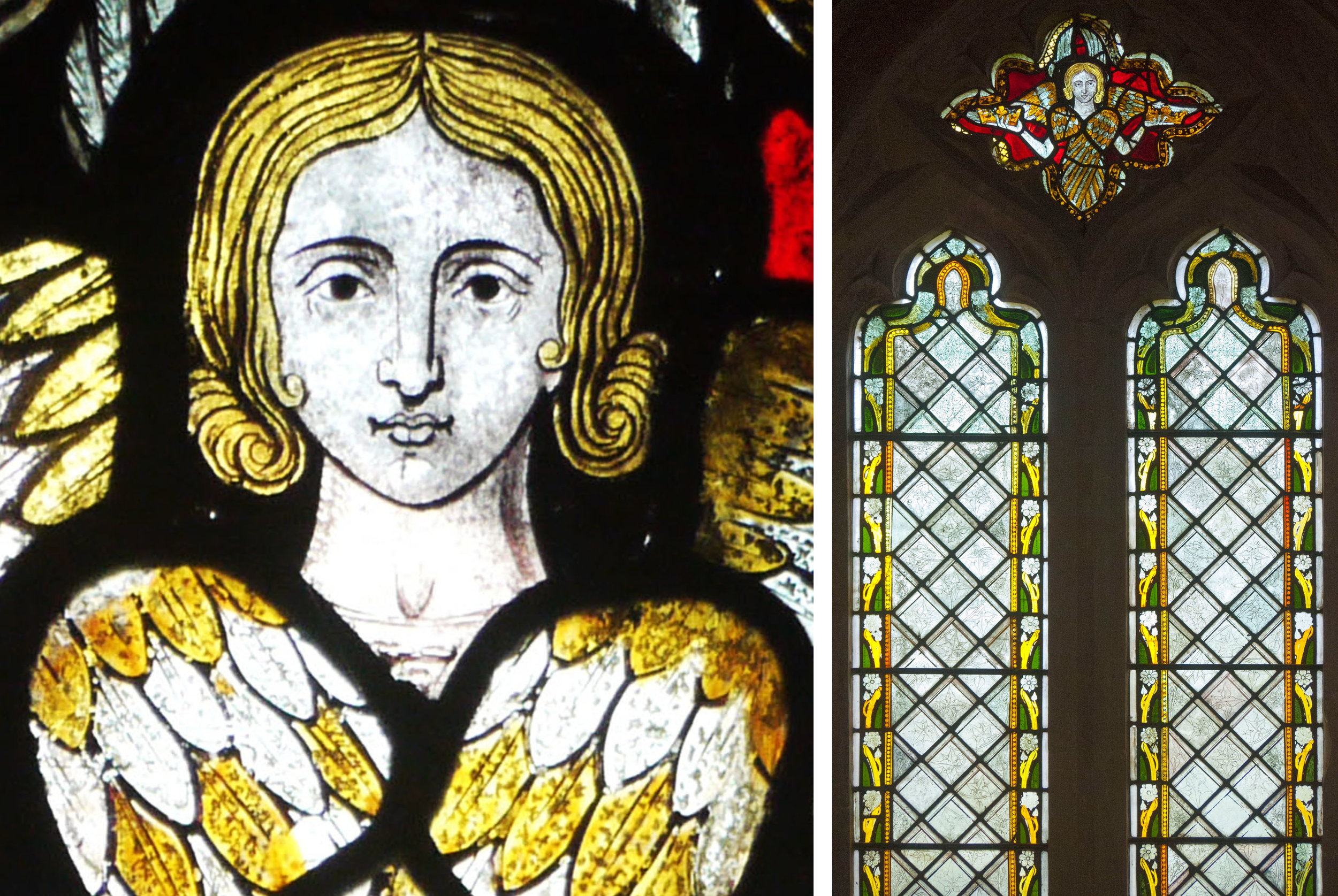 Face of the seraph: window on north side of chancel - chancel built around 1340