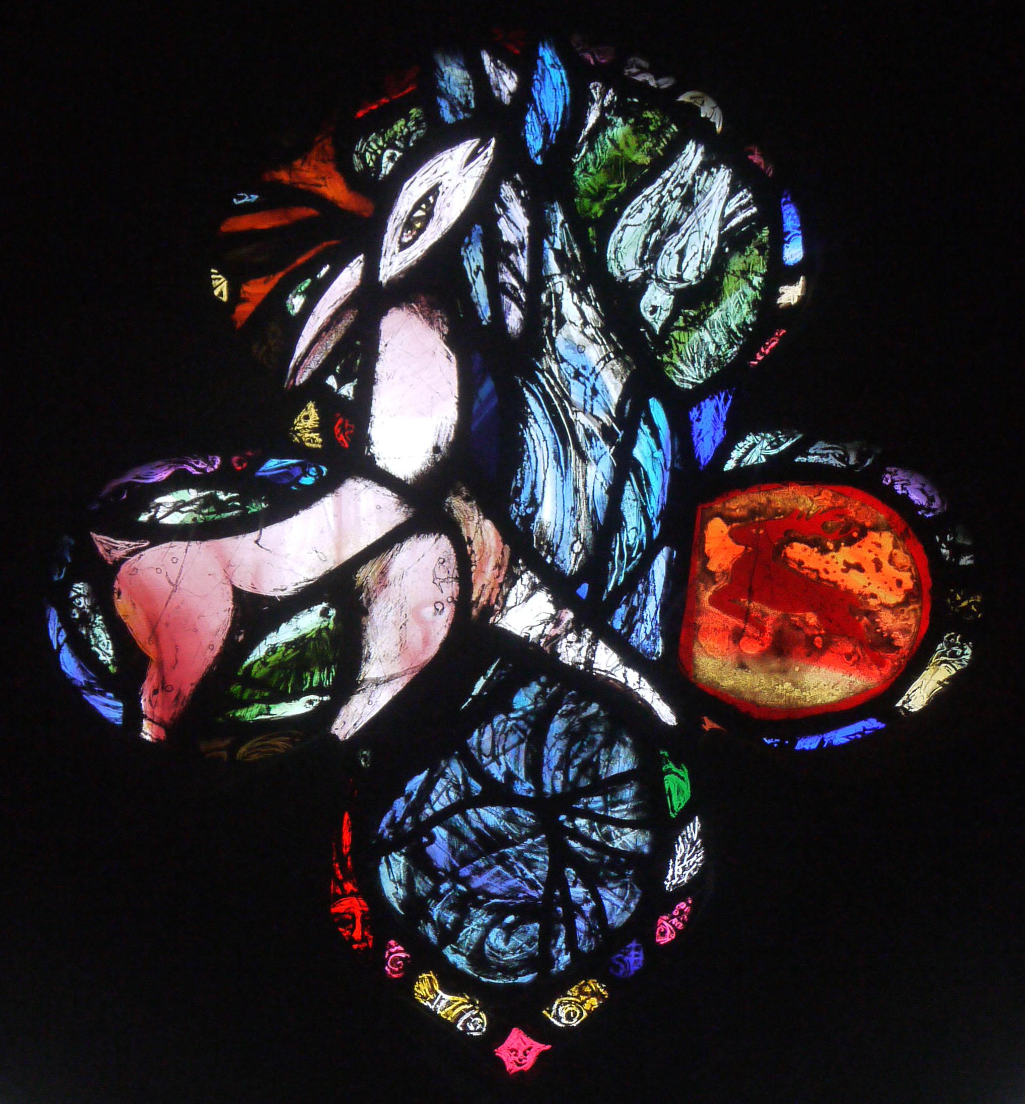 Rosalind Grimshaw window in Urchfont church, 2000.