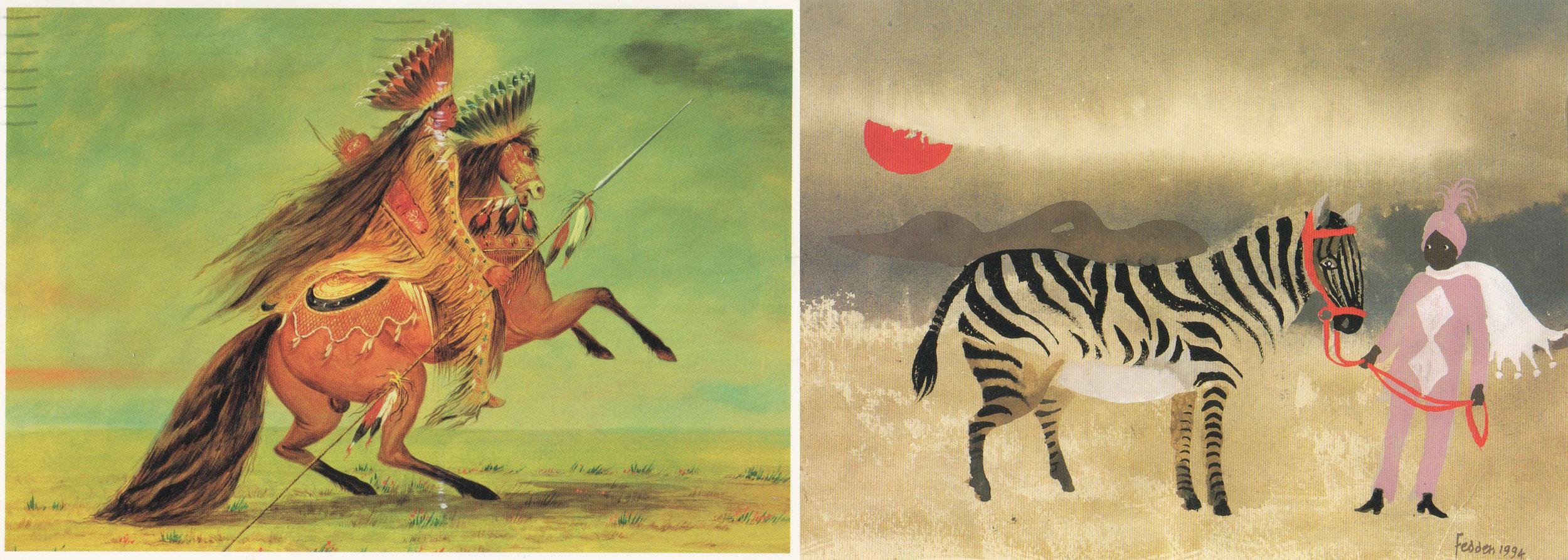 Crow Chief -George Catlin                          Zebra - Mary Fedden