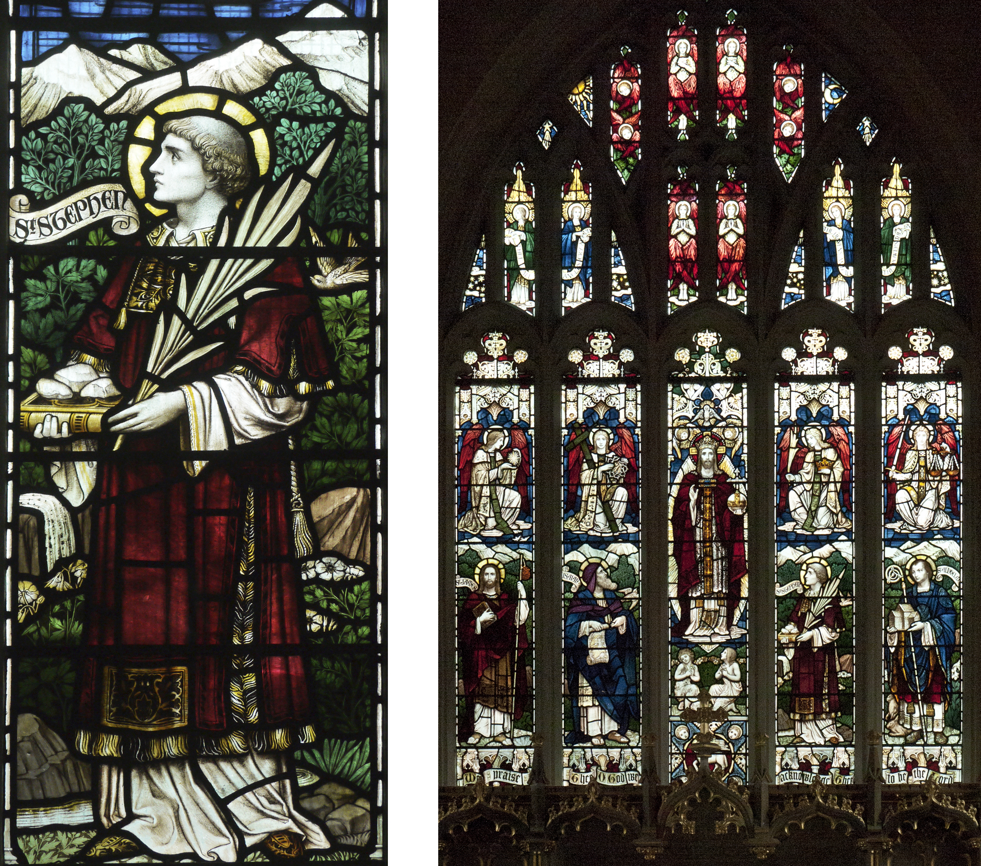 "East Window - Powells 1910. Memorial to the churchwarden Burchell Rodway. ""Te Deum Laudamus""."