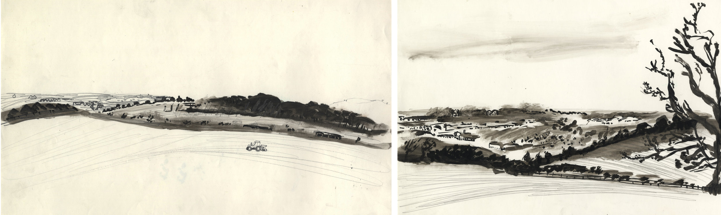 'Honda Factory and Charlbury Hill', drawings numbered 7 & 8 from my 1993 series.