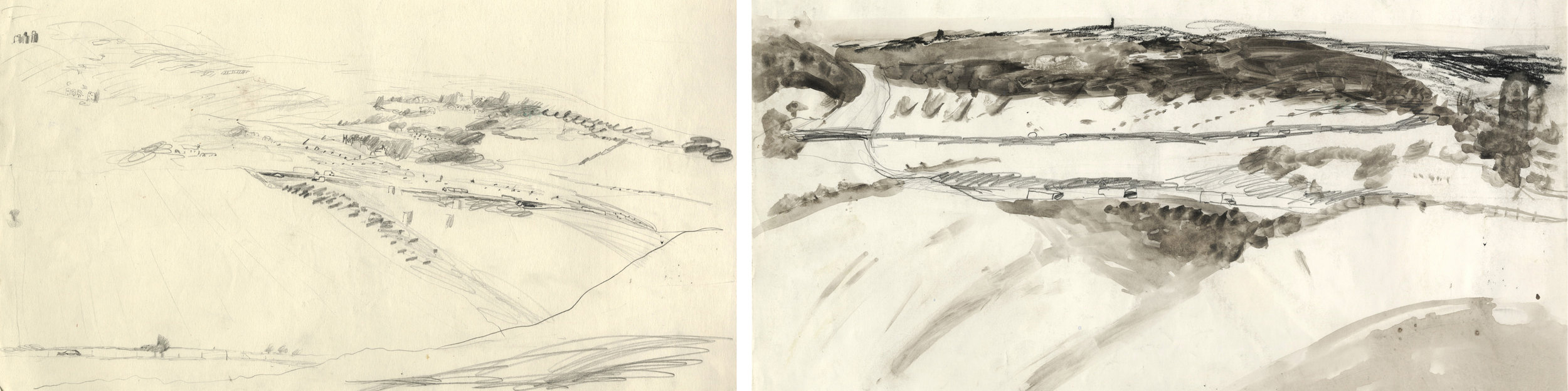 Drawings from a field in Wanborough 1993,the two views were used in the glass panels above.