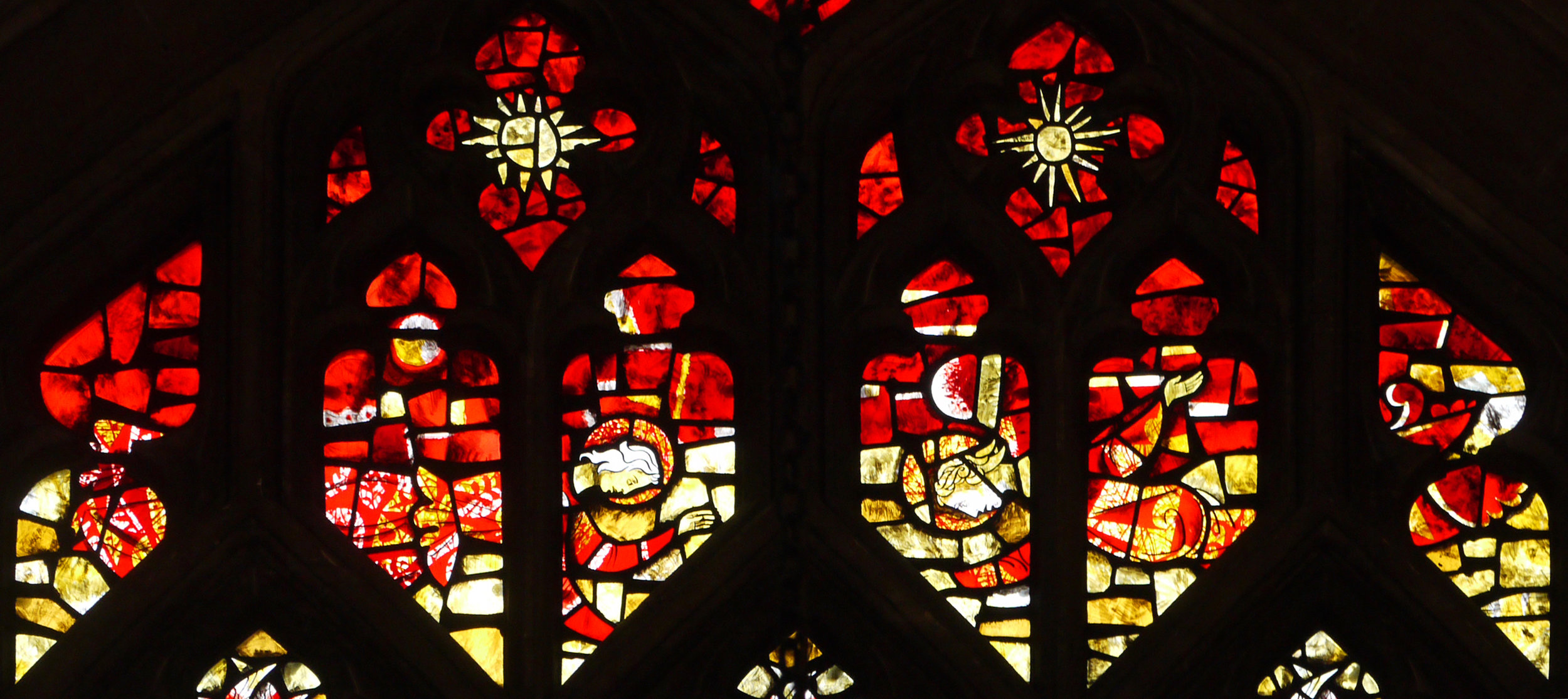 Angels at the top of the nativity window