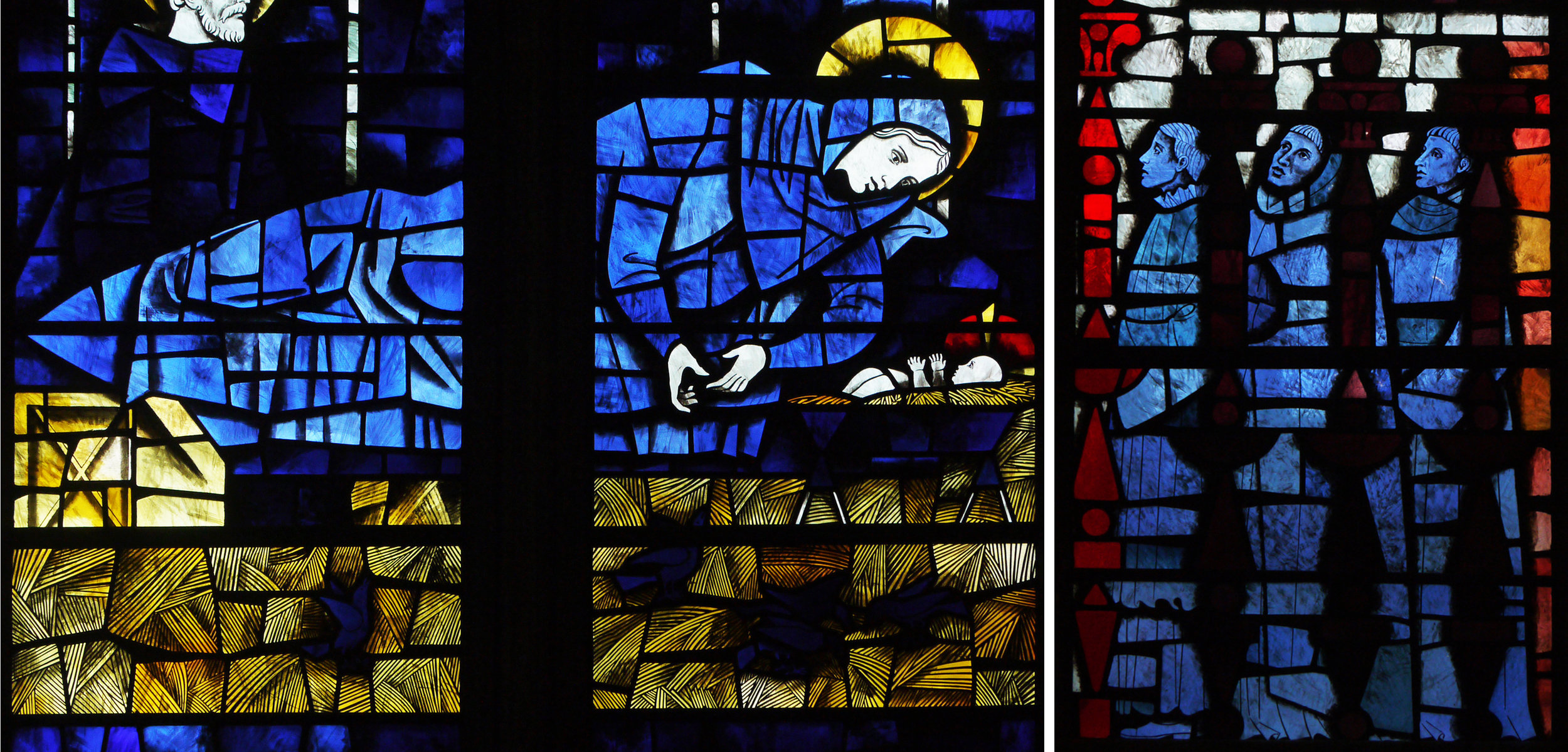 Details from the centre and the bottom right of the nativity window