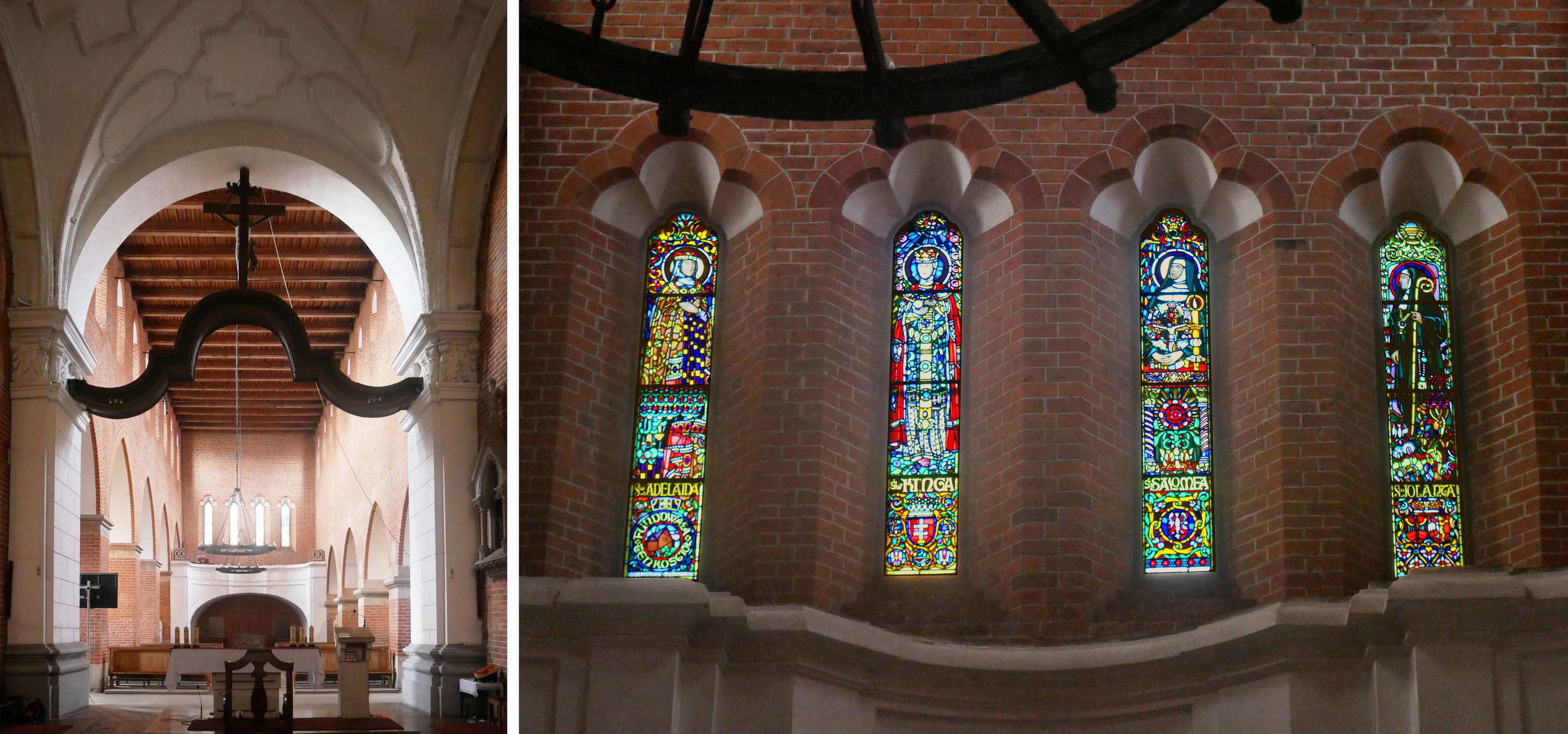 Views towards the west wall inside St. Jacobus with four figure windows and gorgeous white canopy shapes above.