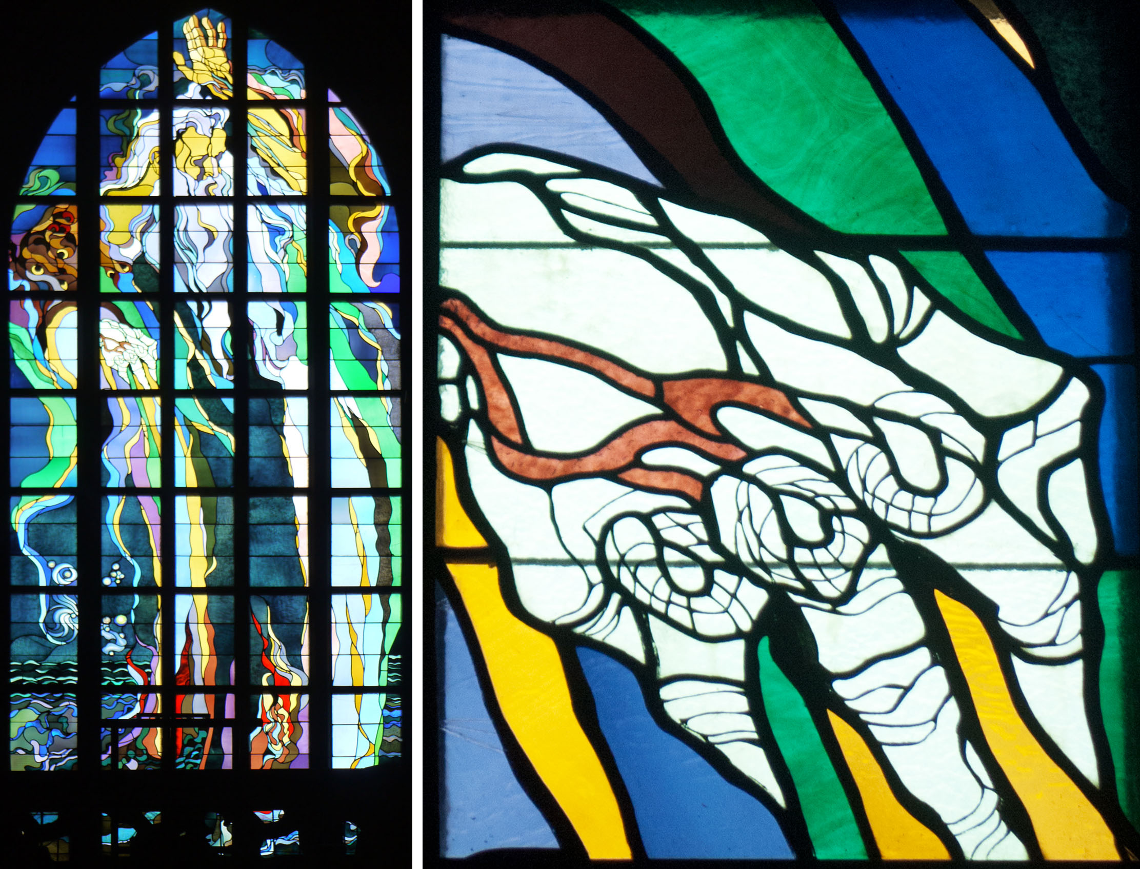 West window, 1901 (astonishingly)and detail of God's right hand.