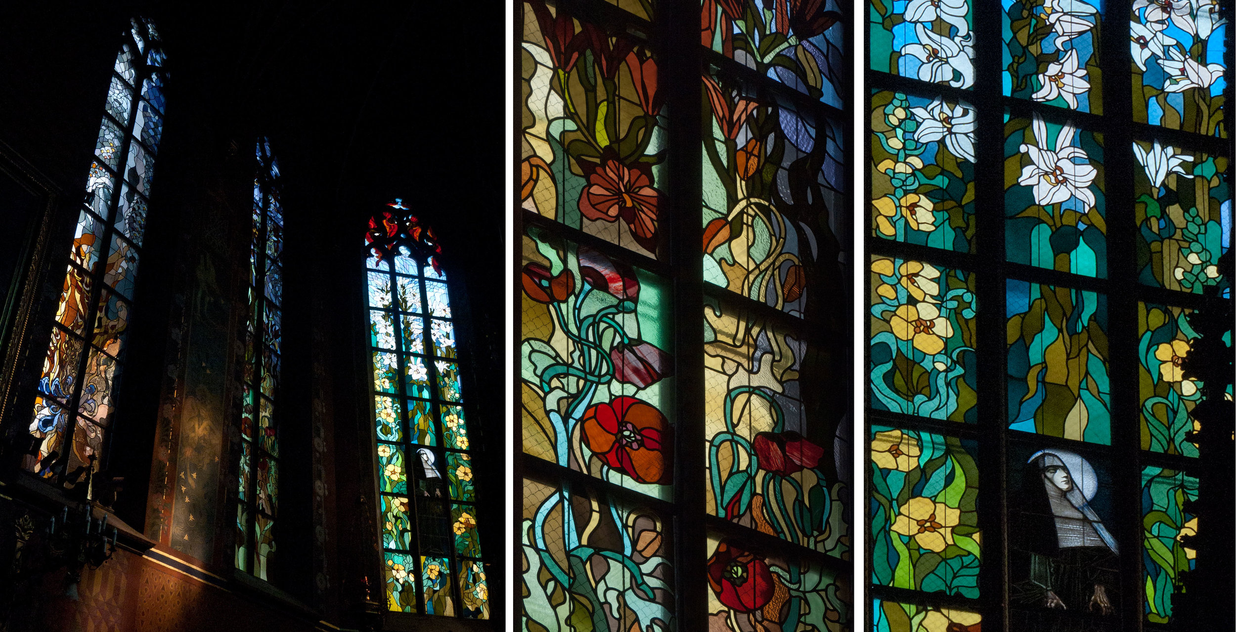 Windows to the left of the high altar, showing poppies, lilies and St. Clare.