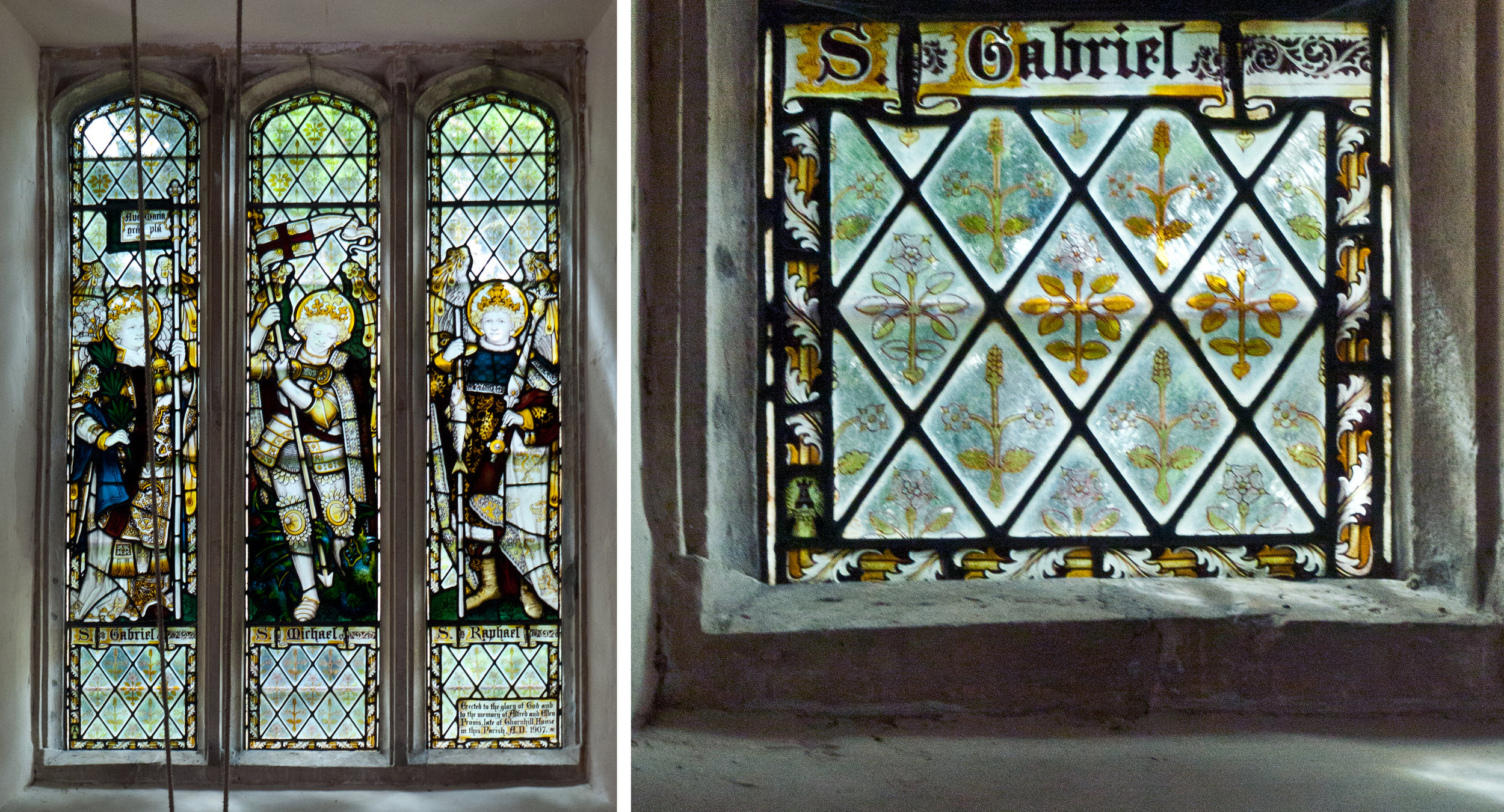 C.E. Kempe window and detail from bottom left panel with the identifying mark.