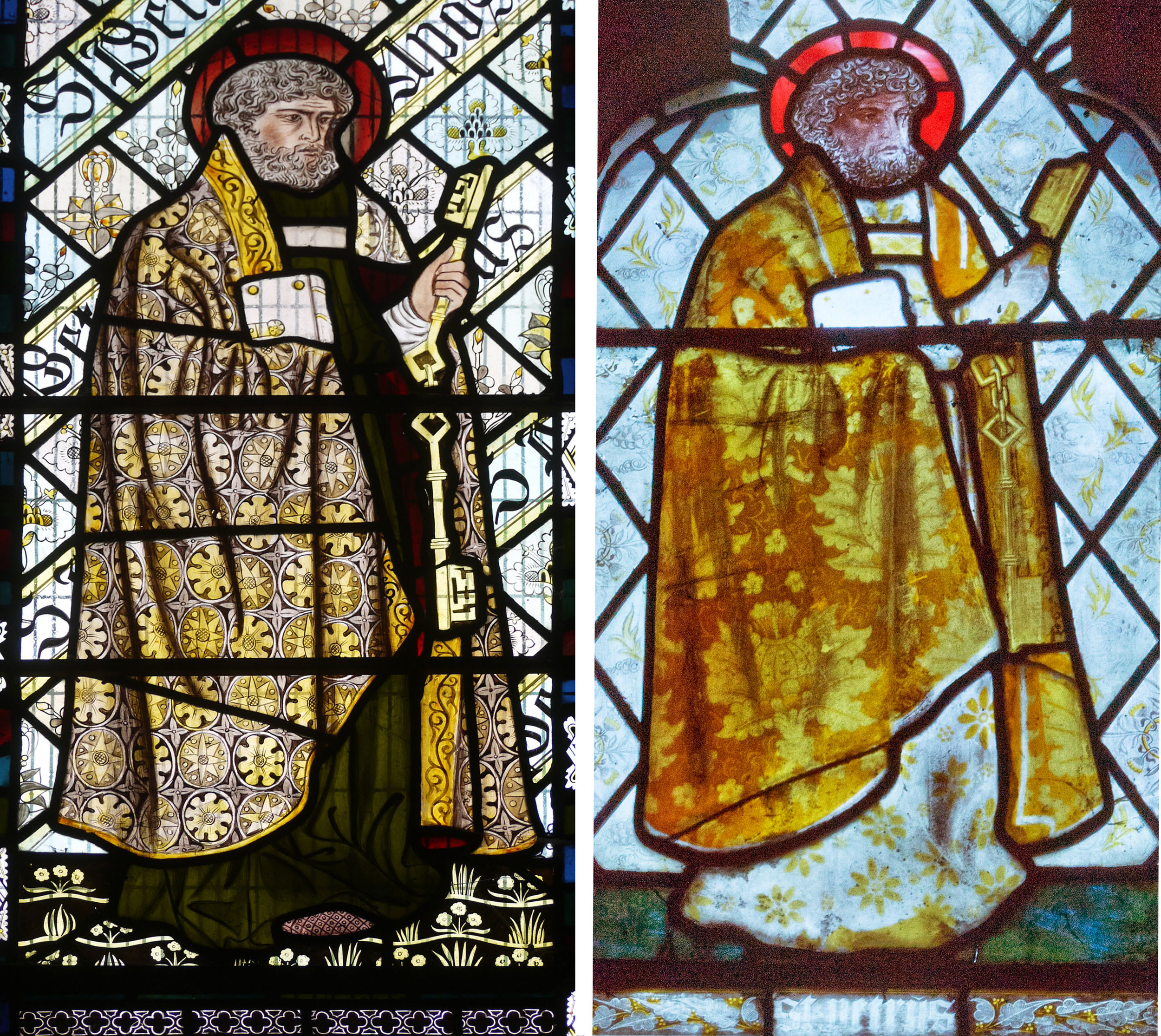 St. Peter from St. Nicholas Beaudesert (left), from St. Martin's Low Marple (right)