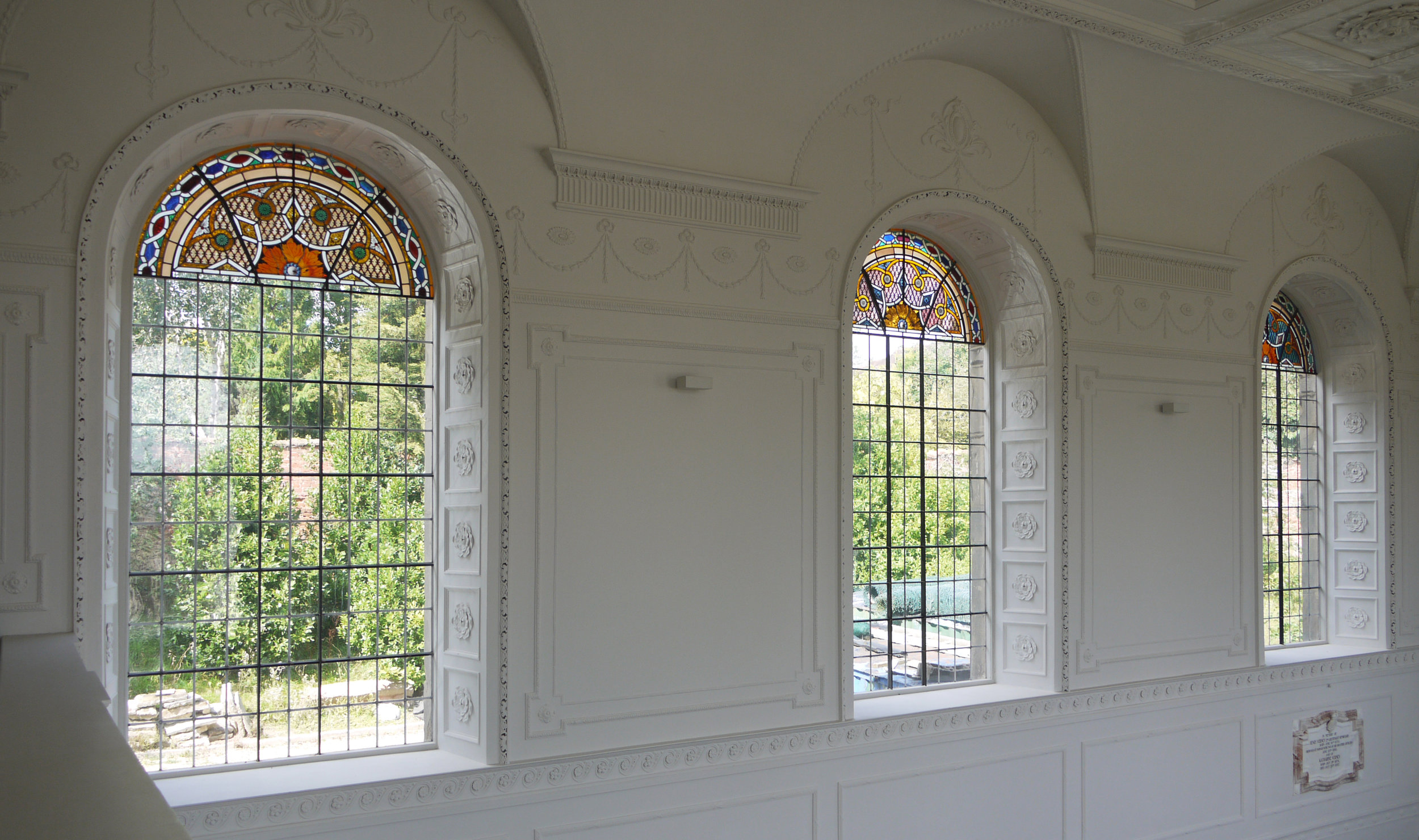 Stained glass in the north windows of the Chapel