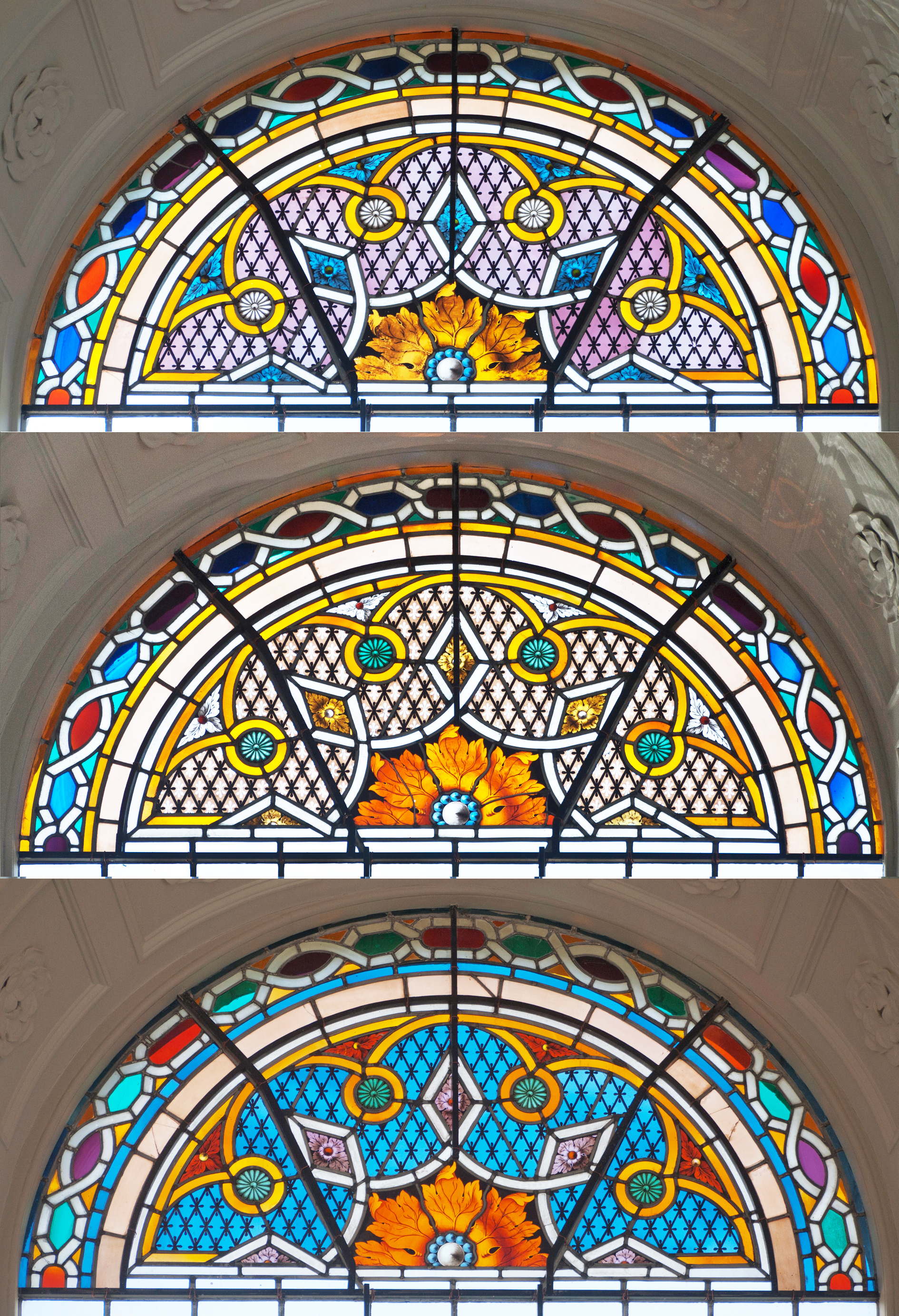 Three restored C18th stained glass window tops in the north side of the Chapel