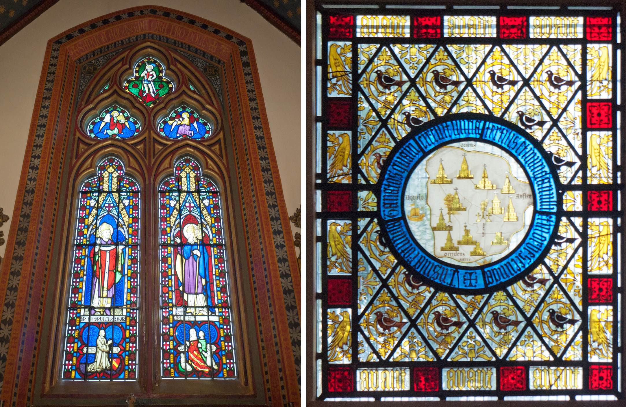 Chapel window with Pugin portraits & coloured border: sitting room window