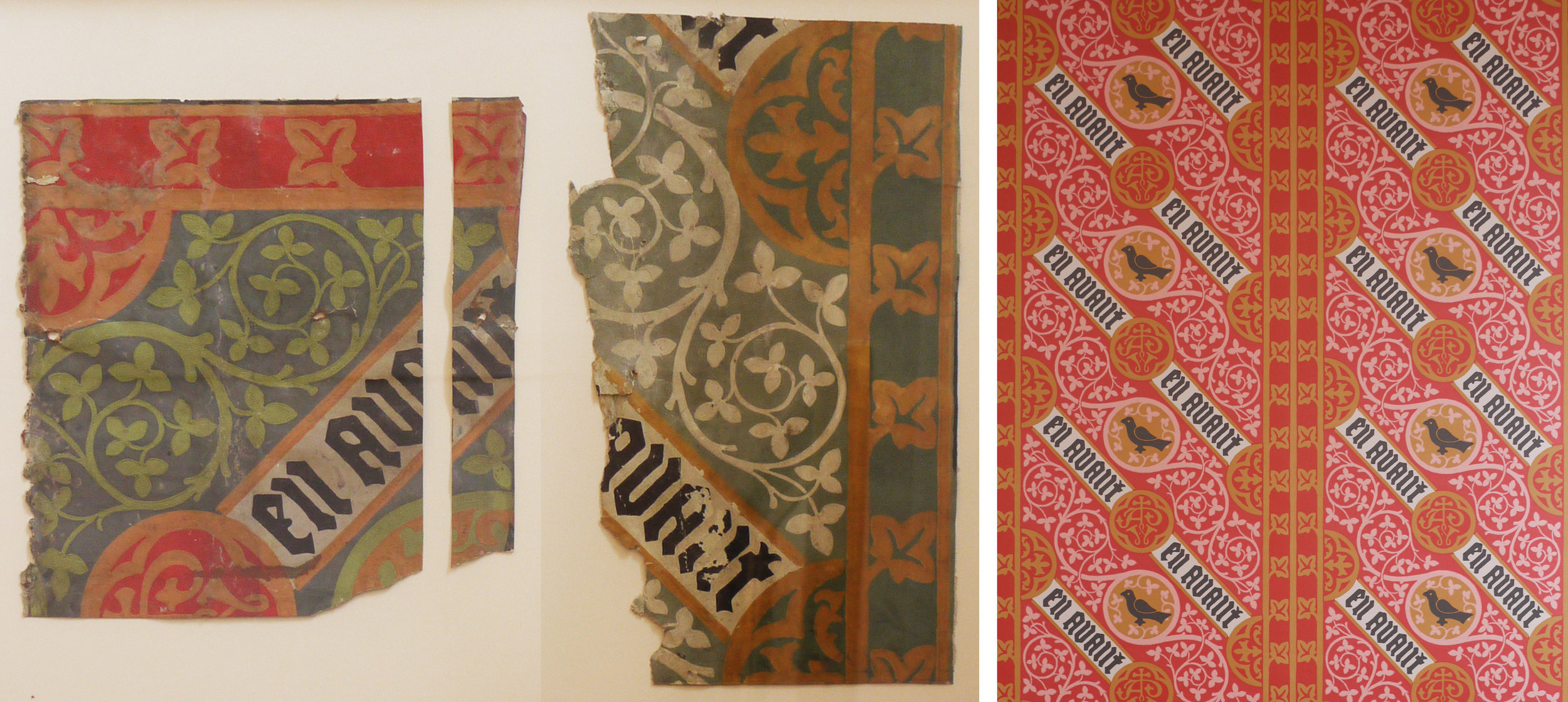 Wallpaper fragments and the reprinted version in a different colourway