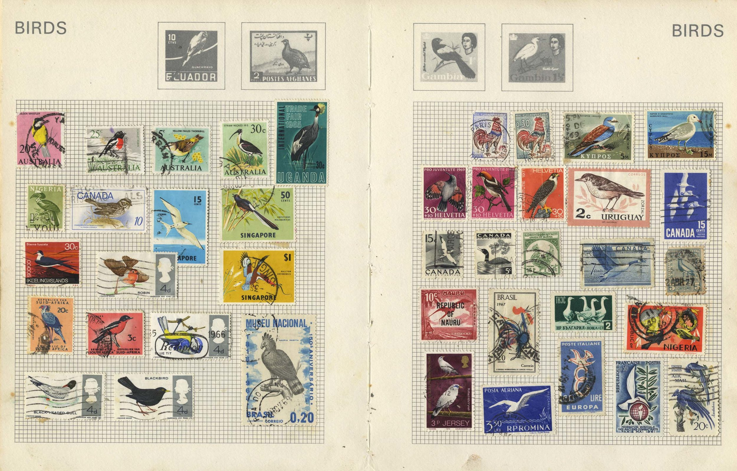 Some of the bird pages in my old stamp album.