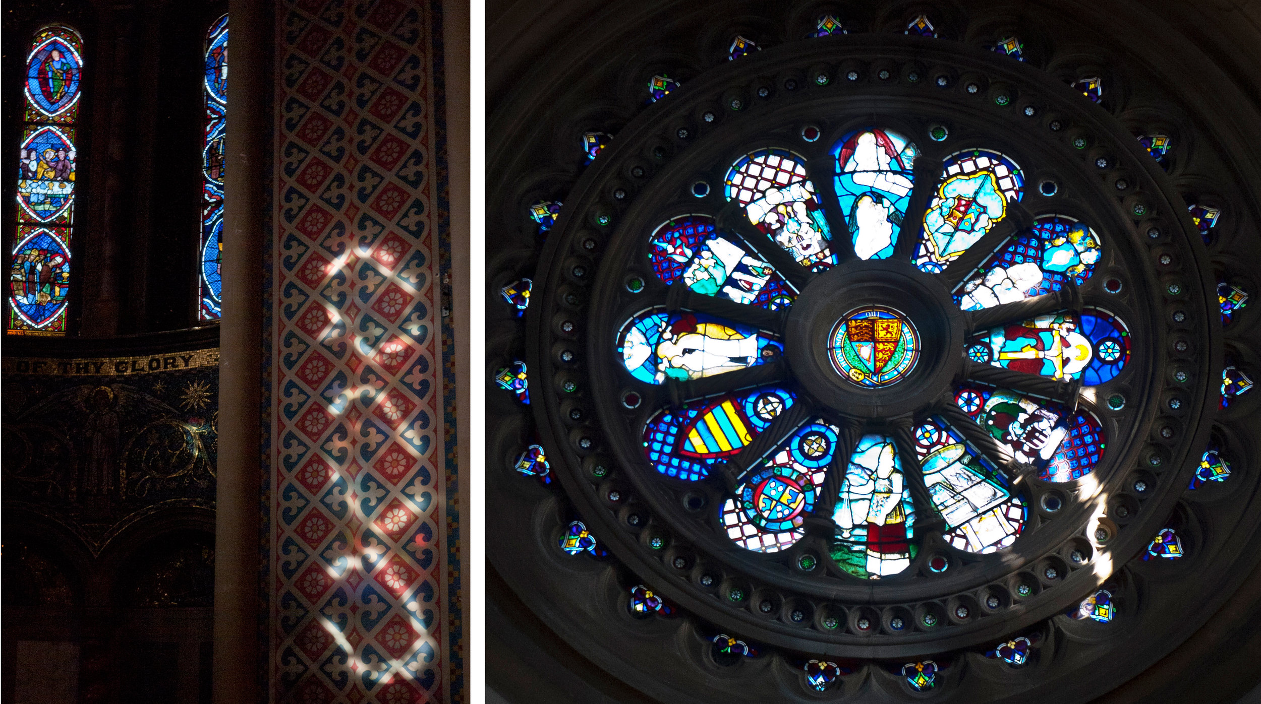 Light through medallions hits a painted wall.   Huge wheel window at the opposite end of the church contains a decorative mixture of 16th century Swiss and Austrian glass fragments and heraldic pieces.