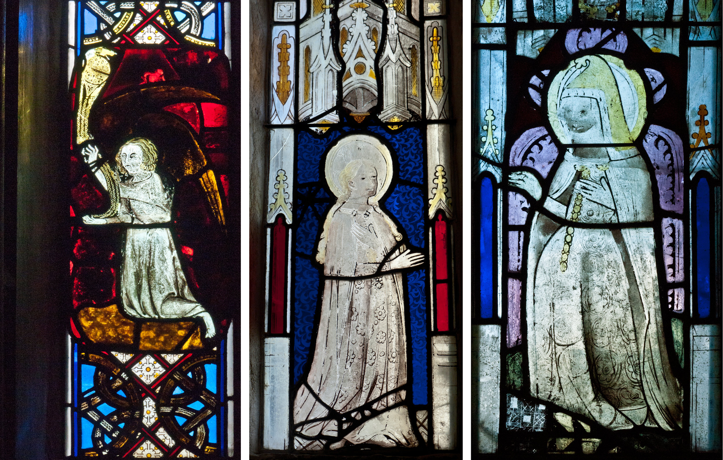 Figures from the windows in the small north and south apses.