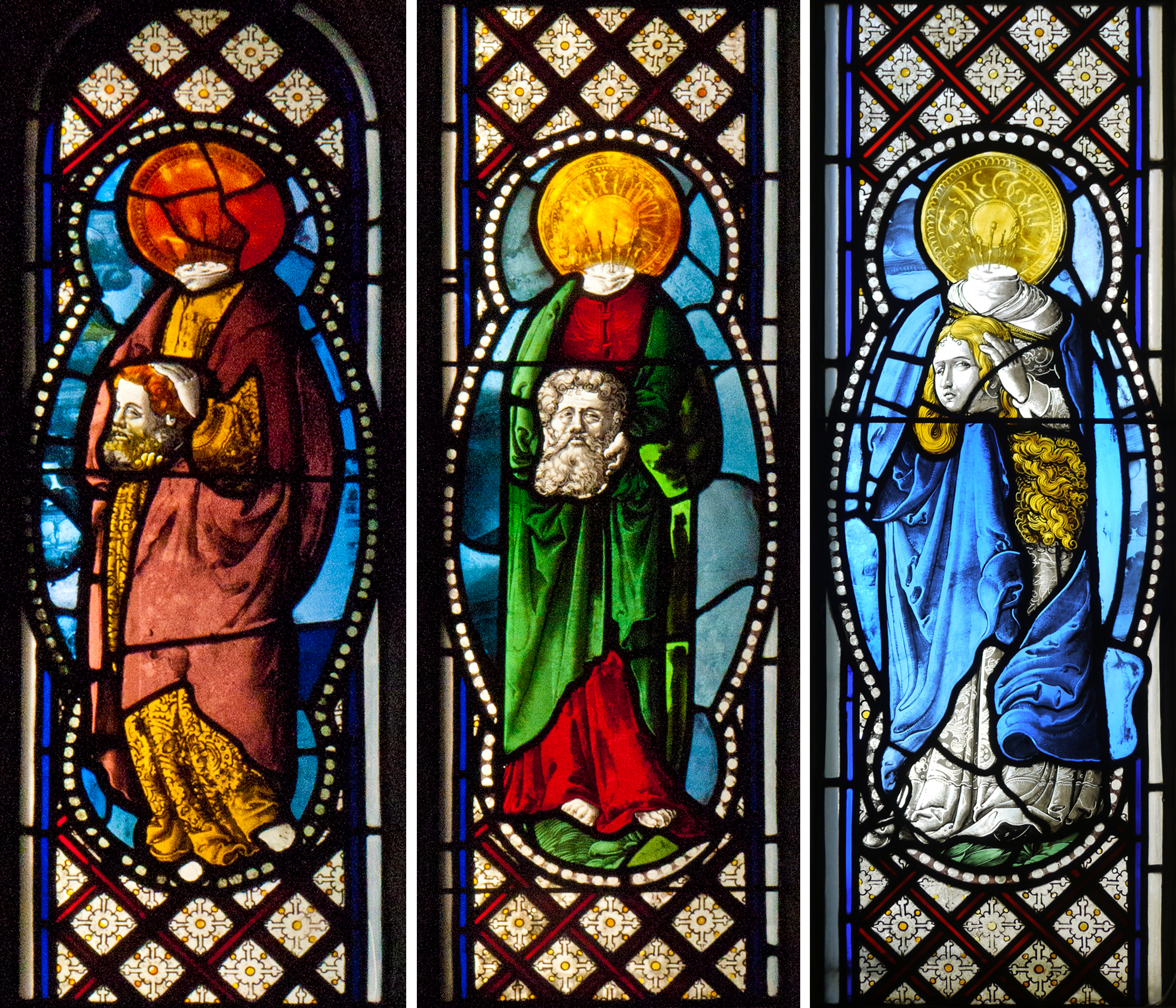 Martyred saints carrying their own heads - 16th century Swiss or German glass