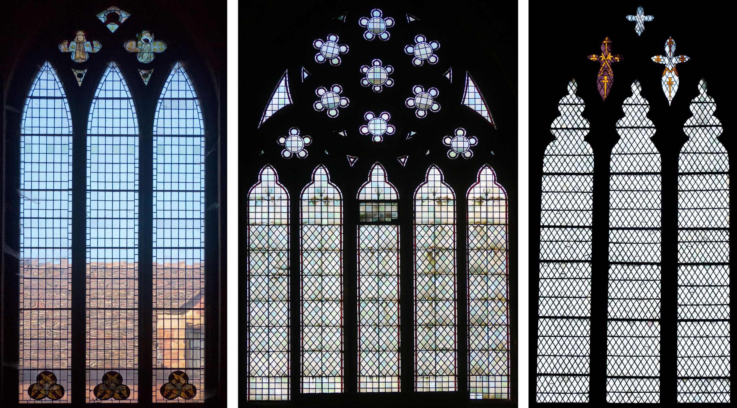 All Saints, Cambridge.             All Saints, Leicester.                     Peterborough Cathedral.  From rectangles to diamonds - ancient angels below &William Morris angels above; with both shapes & more wonky geometry; keys of St. Peter in light and dark colours above the huge diamond panels.