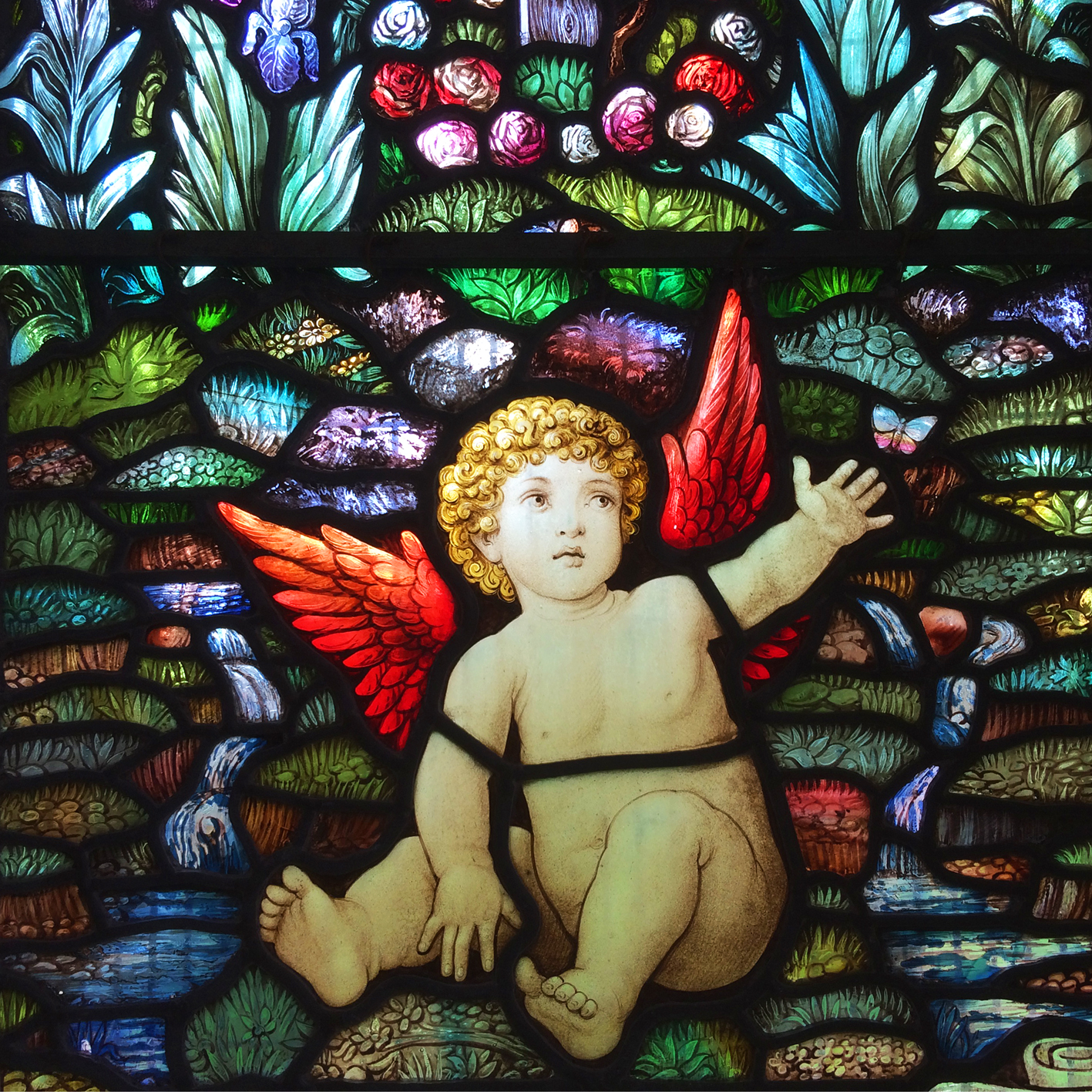 Detail of 1919 window designed by Edward Prynne, made by J.Jennings.