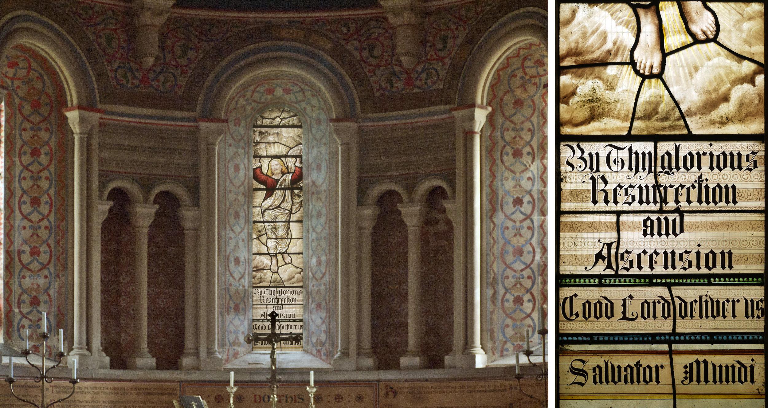 Central window, Christ resurrected & detail, HB&B 1888