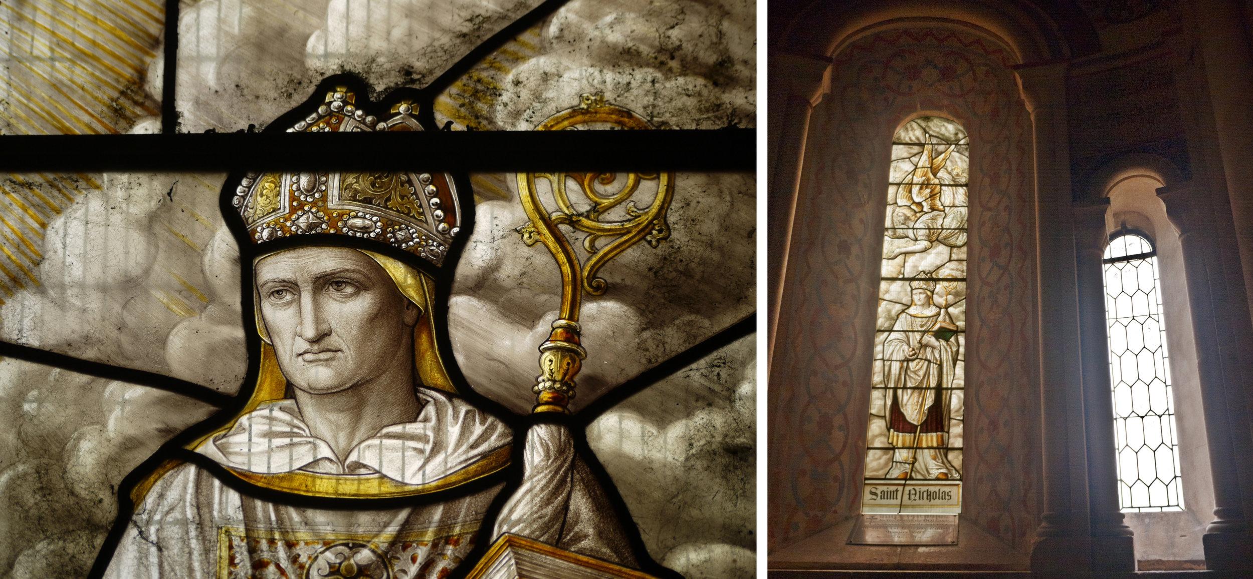 Right hand window, St Nicholas & detail, HB&B 1887