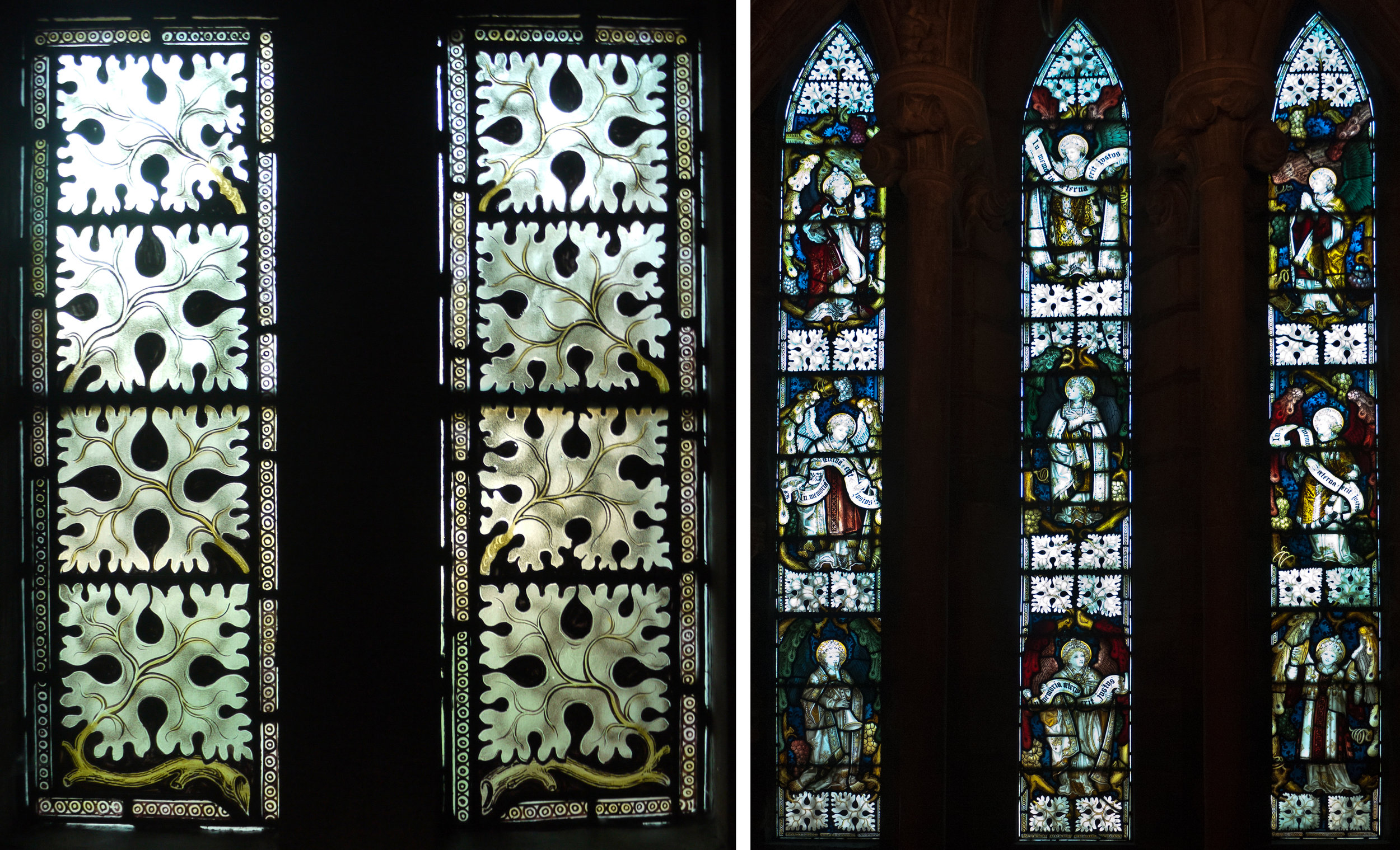 Left: window on the staircase.  Right: window inside St Chad's Head Chapel.  Below: details from central panel of this window.