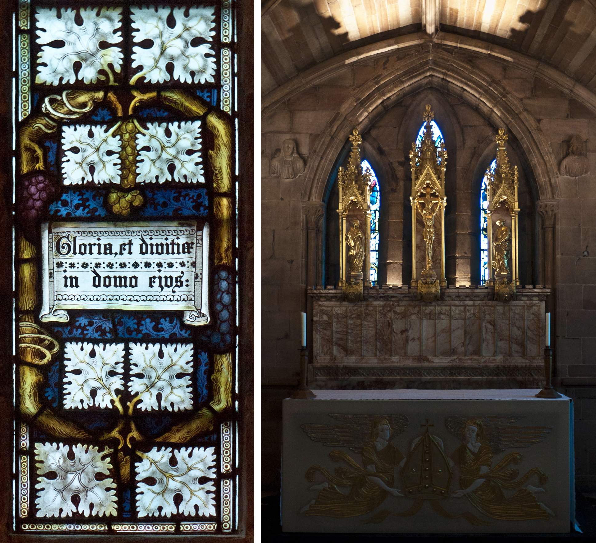 Left: detail of window with vine and texts. Right: altar and windows hidden behind reredos