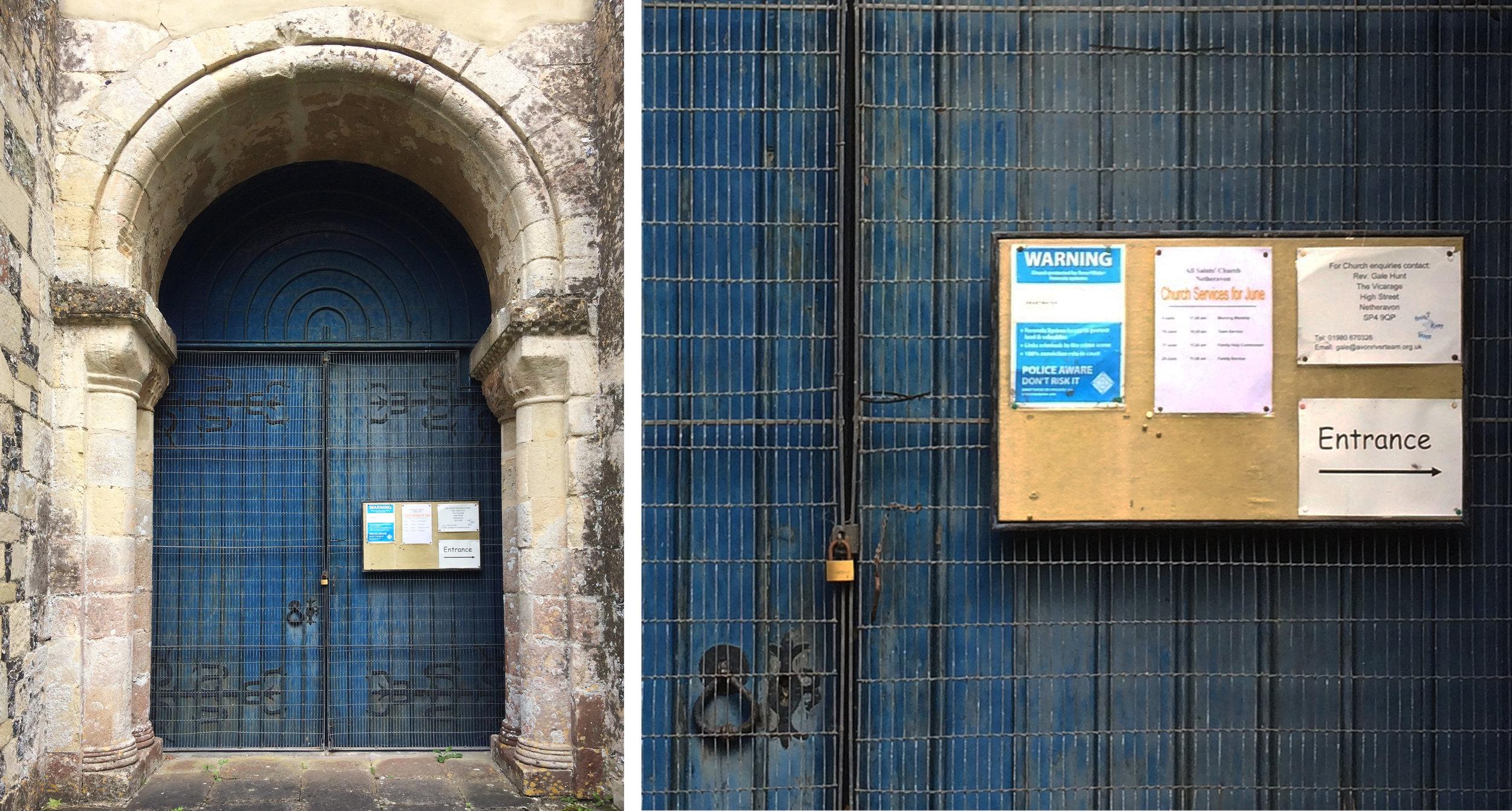 West facing door, All Saints, Netheravon