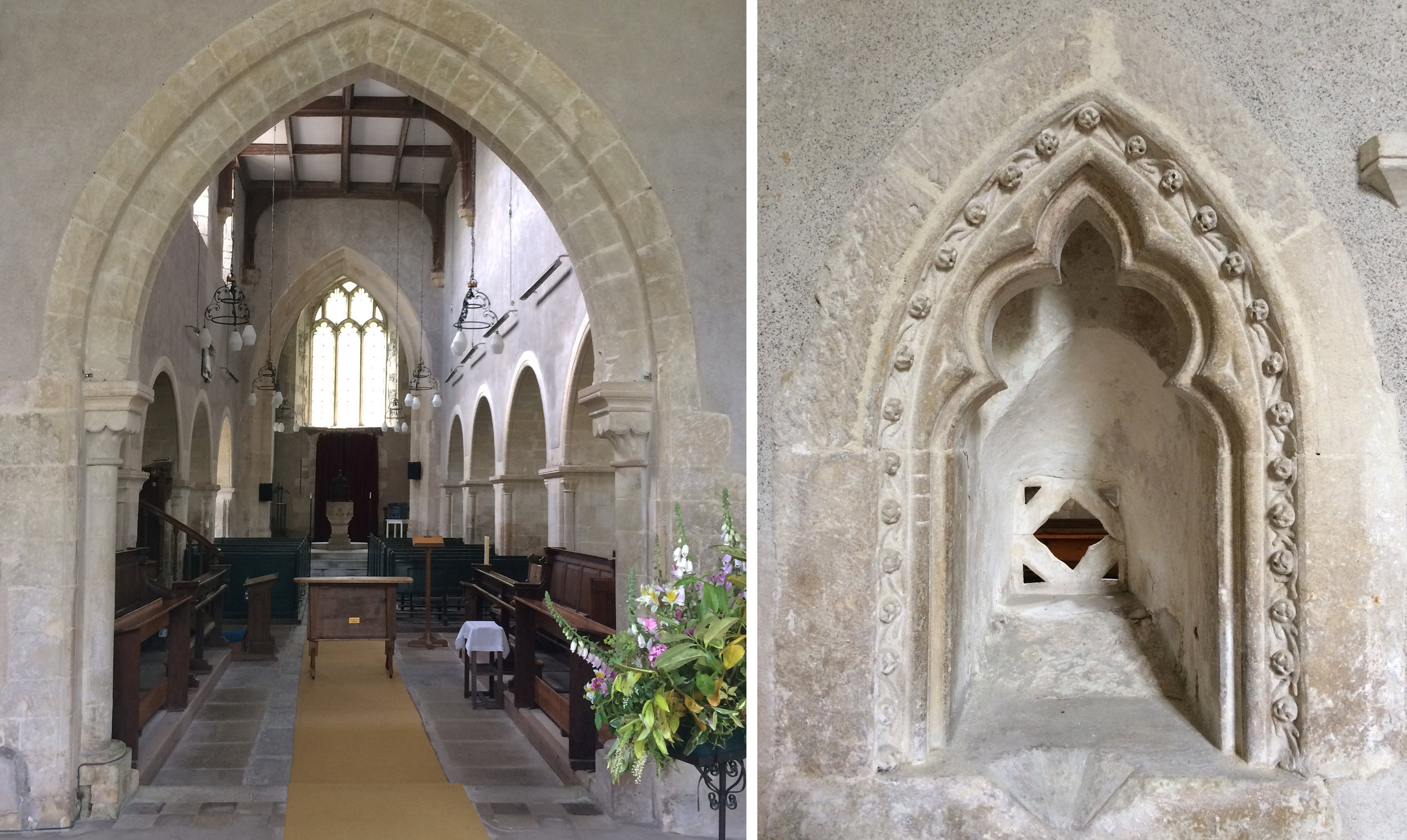 Inside All Saints, Enfold and a squint in the nave wall.