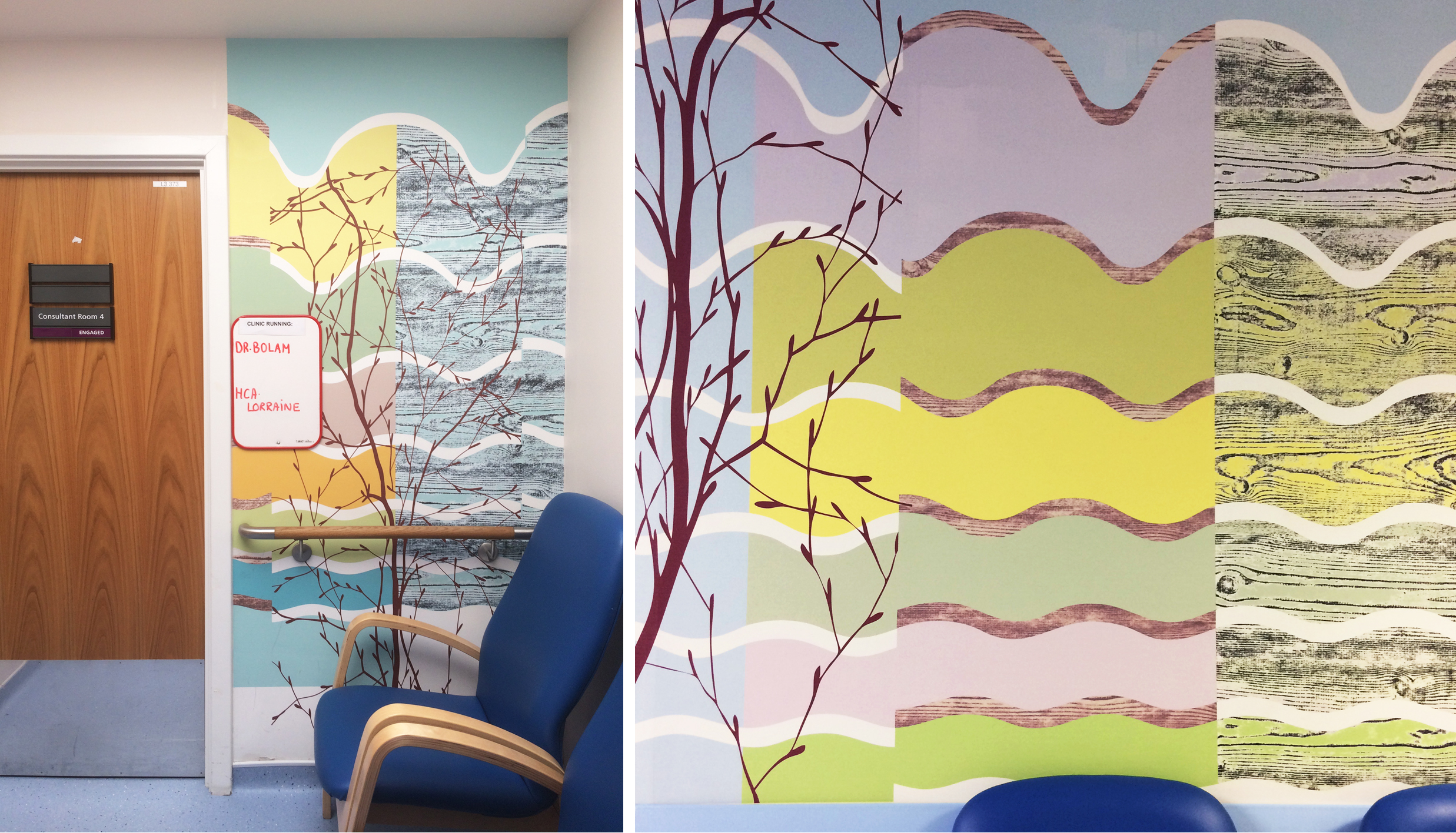 Digitally printed vinyl wallpaper outside consultation room and in waiting corridor.