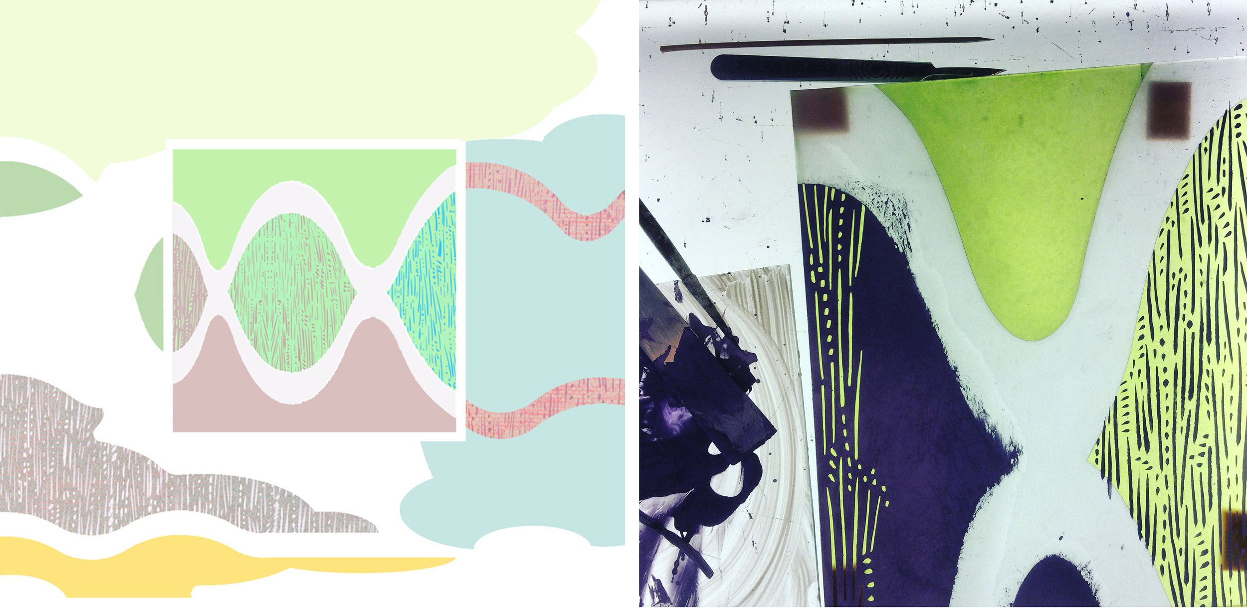 Design for entrance wall, digital wallpaper and glass square: glass sample in progress