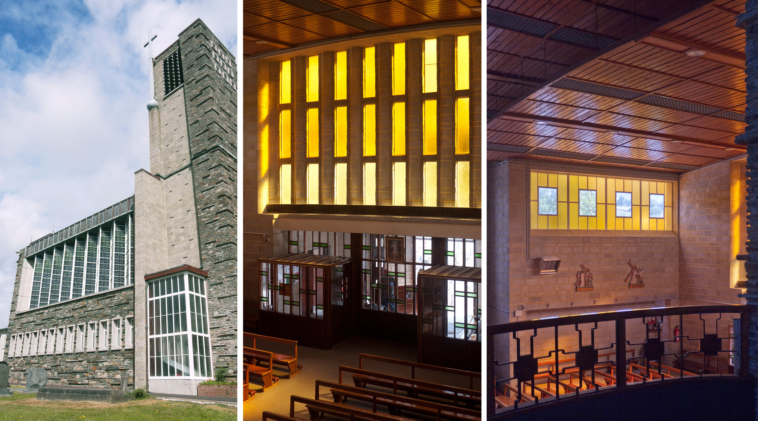 South side of the church: Interior with yellow glass - transparent over the entrance doors,opaque at the sides.
