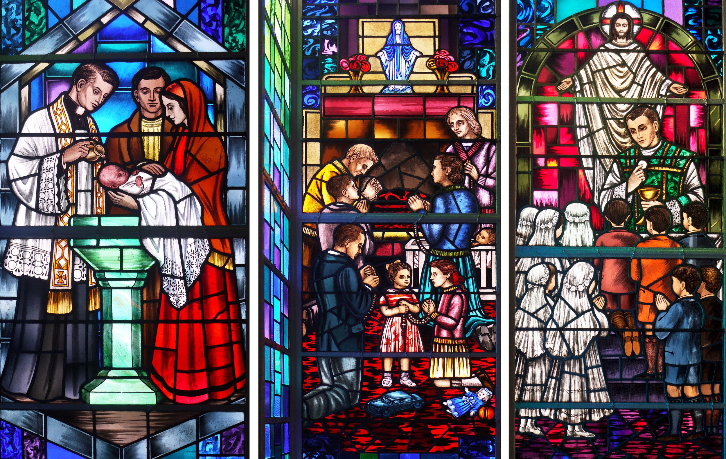 Panel 1 Baptism, Panel 2 Family Prayers, Panel 3 First Communicants