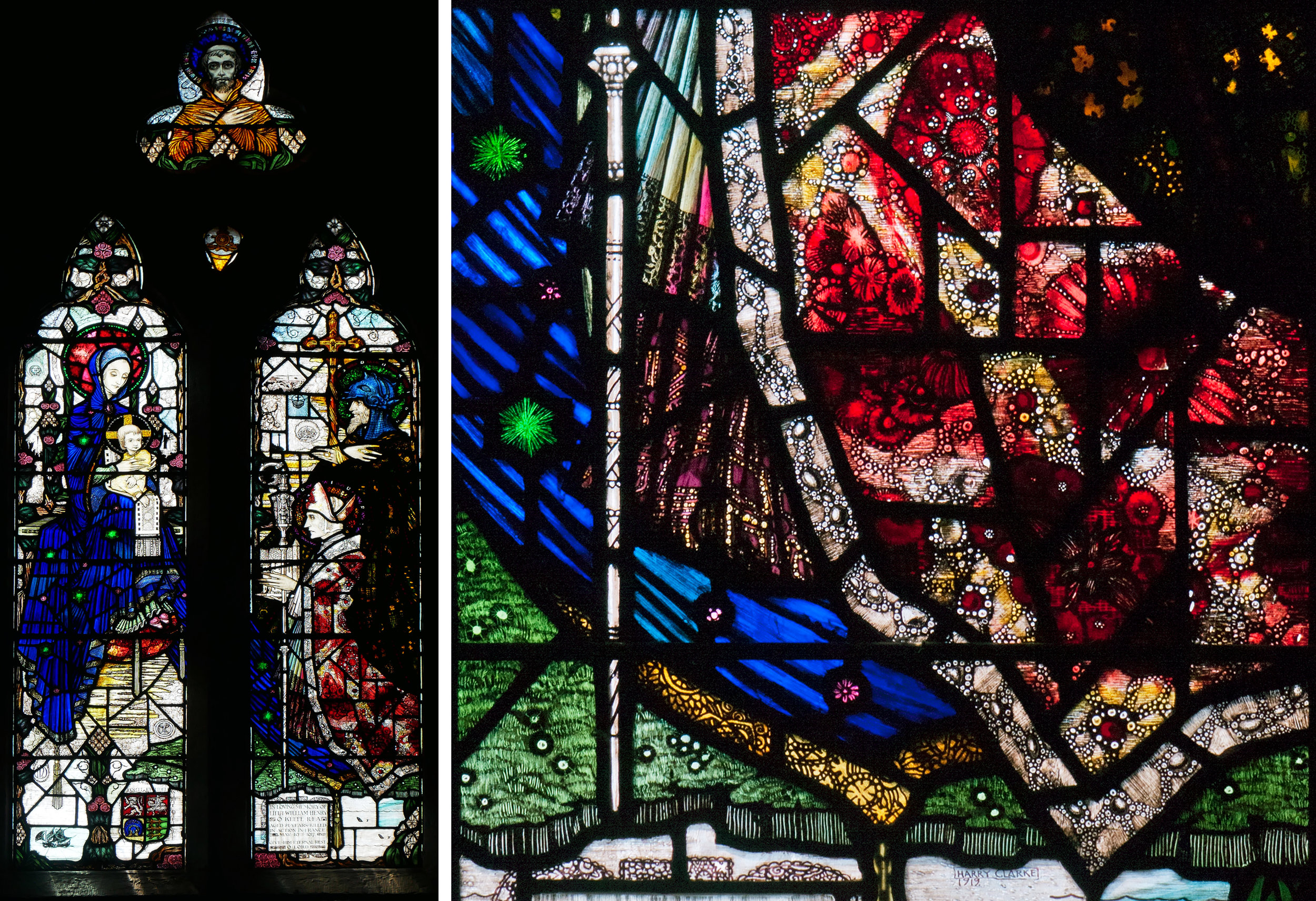 Church of the Assumption, Wexford 1919 - whole window and detail of St Aidan's gorgeous cape.