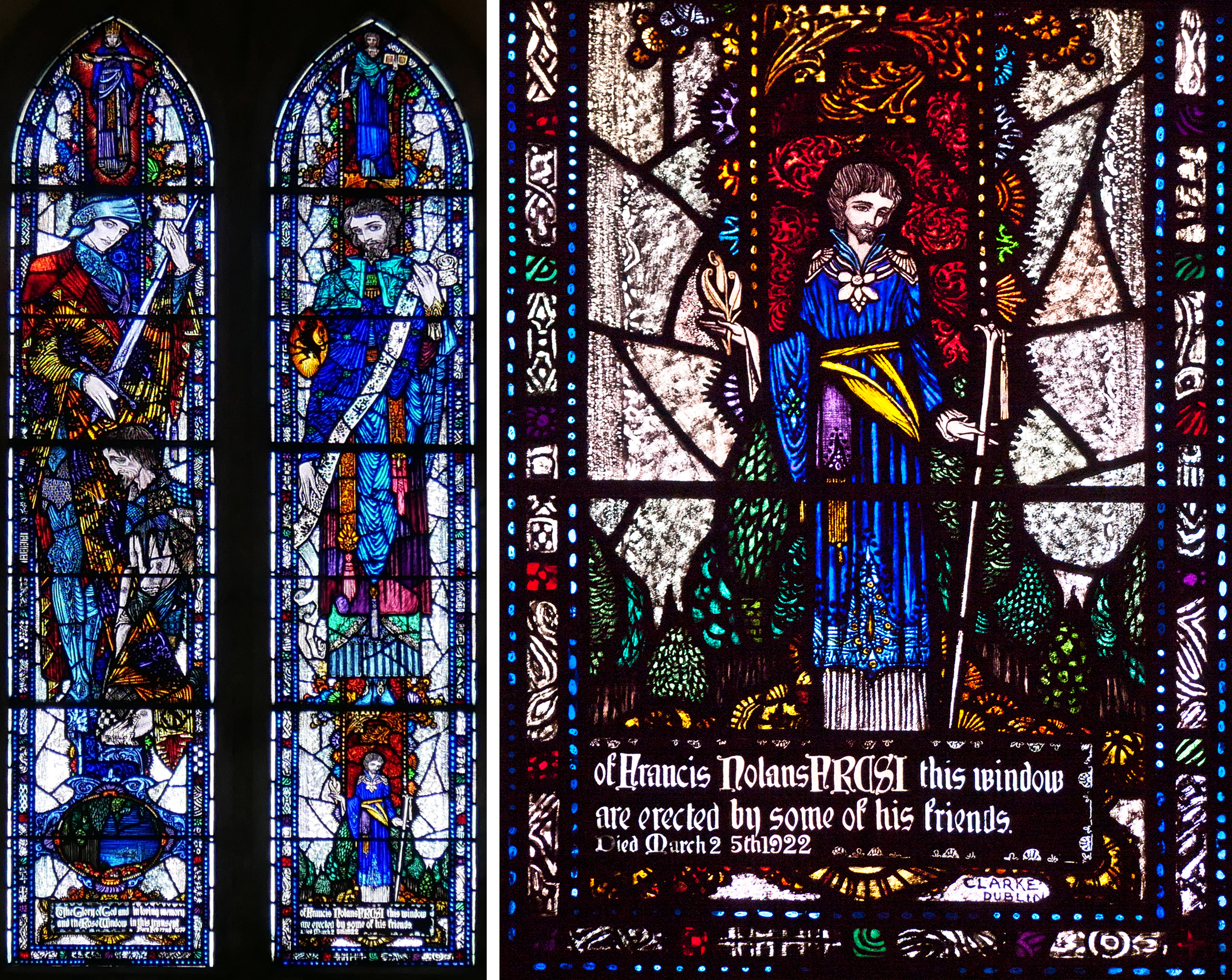 Christchurch, Church of Ireland, Gorey 1923 - St Martin and St Luke window and detail of St Luke