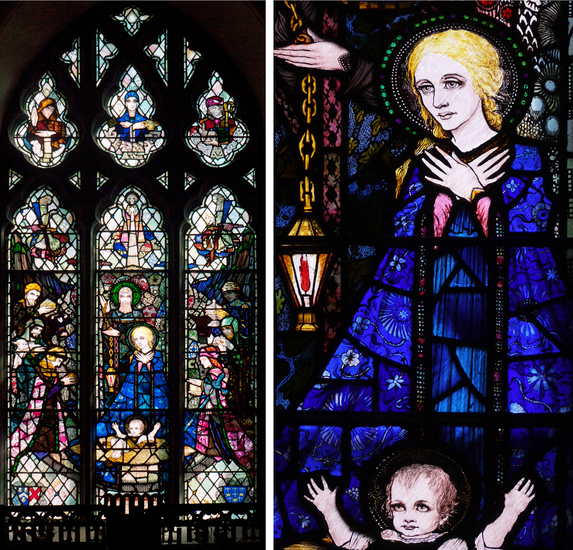 St. Barrahane's Church of Ireland, Castletownsend 1918 - Nativity window and detail of Madonna and child