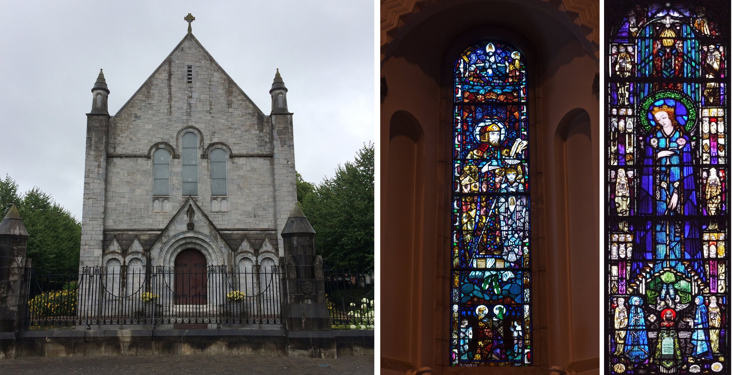 The Honan Chapel, University College Cork, exterior: 2 of HC's windows: St Declan 1916, Our Lady of Sorrows 1917