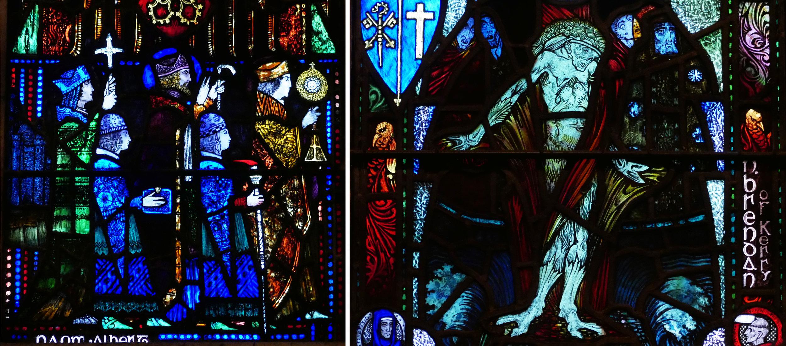 Lower panels for St Albert and St Brendan