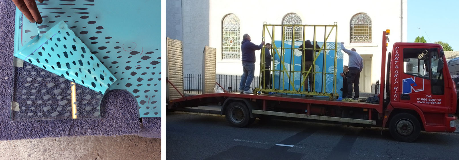 Lifting a corner of the stencil to check the sandblasted marks; glass arrives at the Moravian Church.