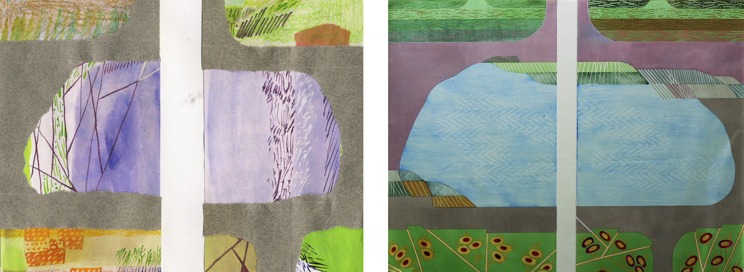 Central section of panels 3 & 4. Left collage, right glass.